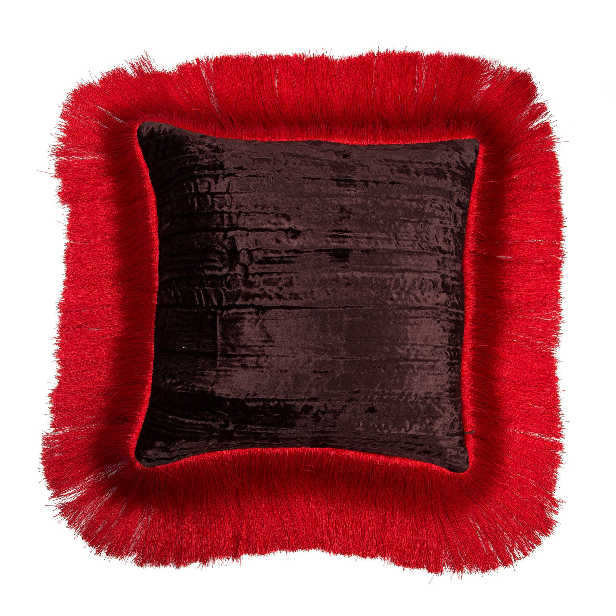 Silk twill and velvet red fringed cushion - Bivain - 3
