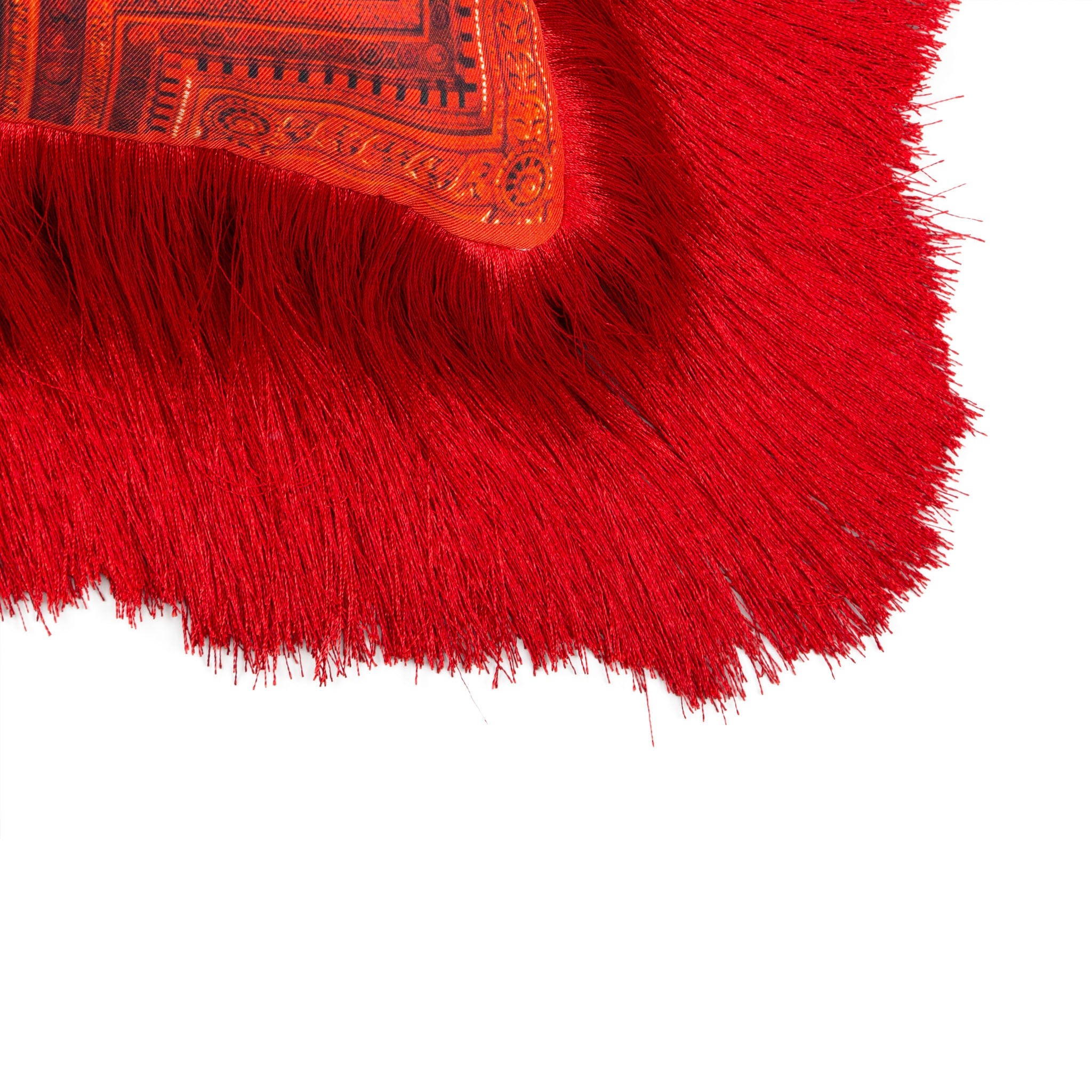 Silk twill and velvet red fringed cushion - Bivain - 4