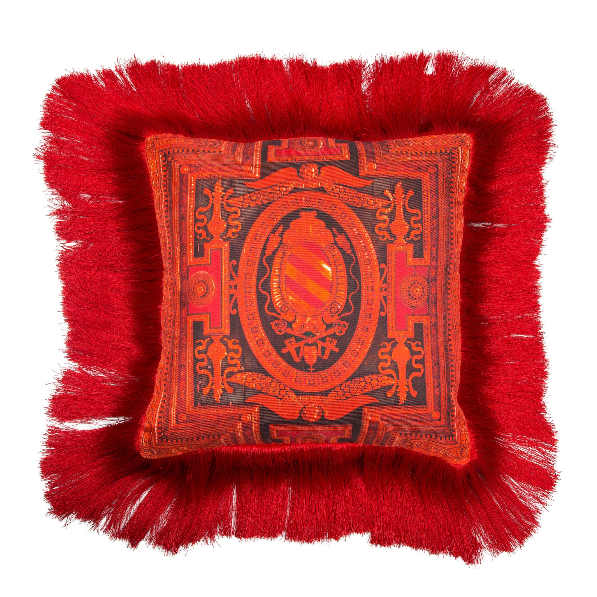 Silk twill and velvet red fringed cushion - Bivain - 1