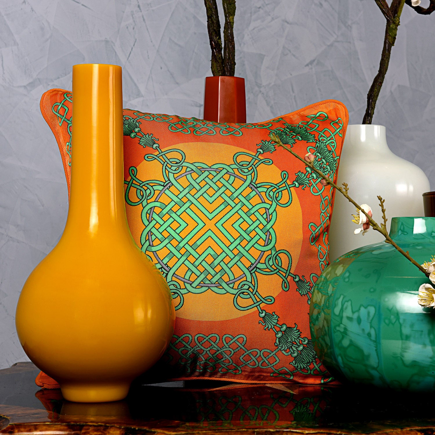 Silk twill orange & green Chinese knot print cushion - Bivain - 2