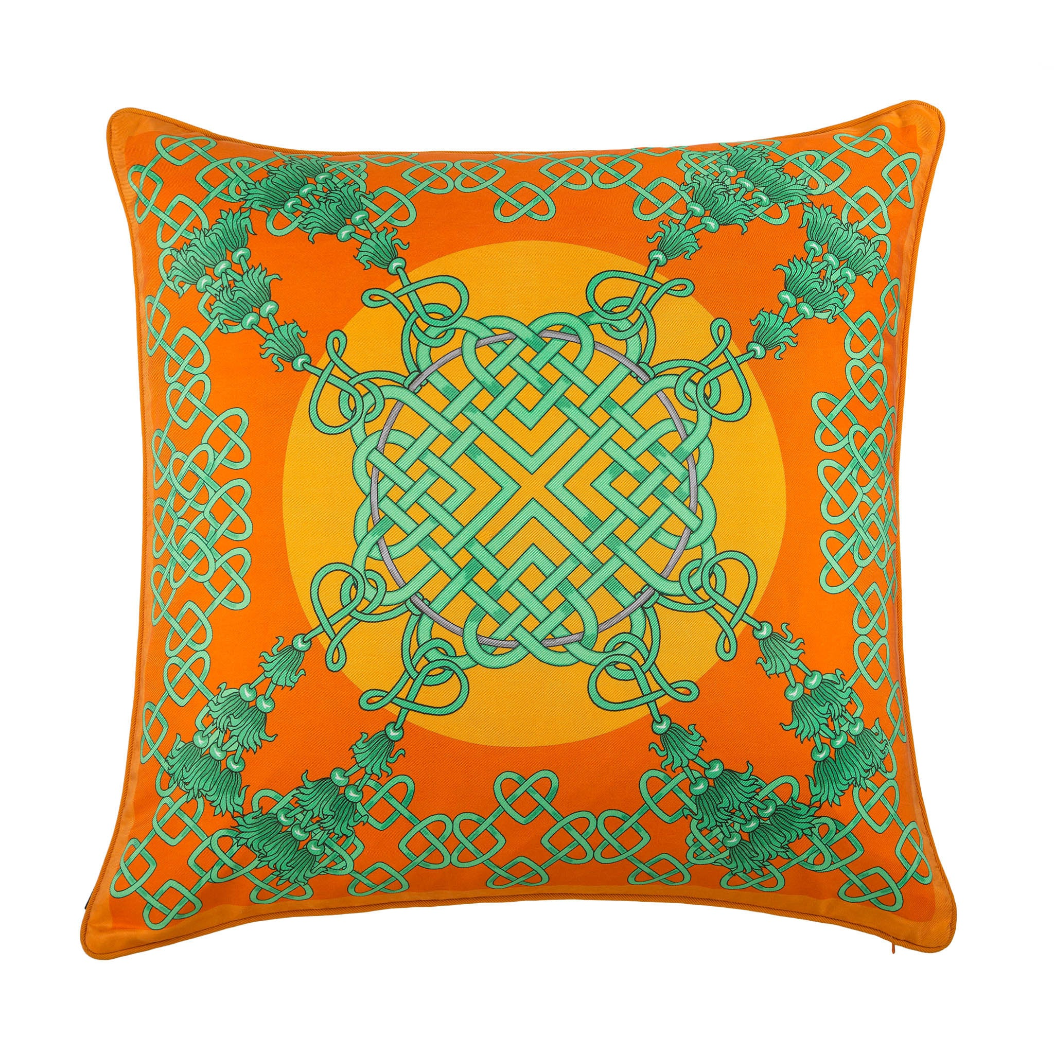 Silk twill orange & green Chinese knot print cushion - Bivain - 1