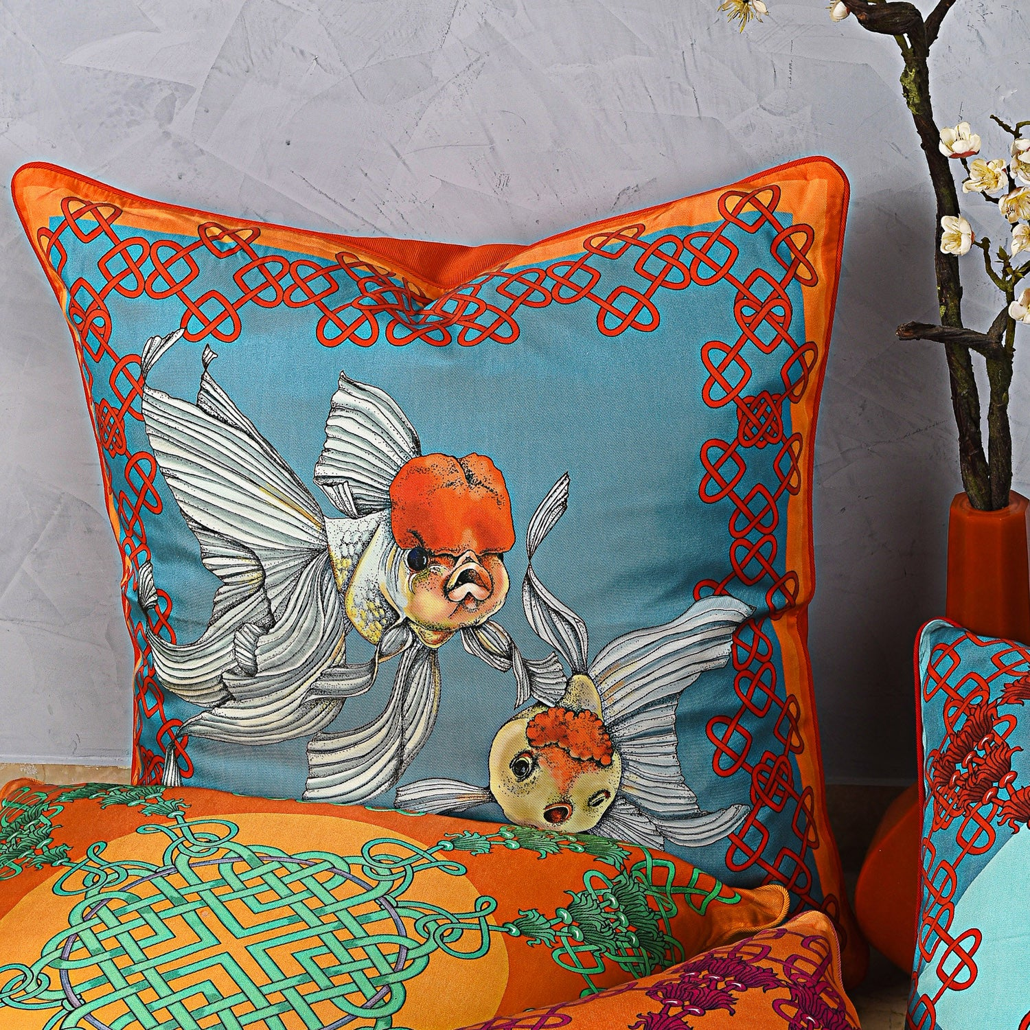 Silk twill orange & blue fish print cushion - Bivain - 2