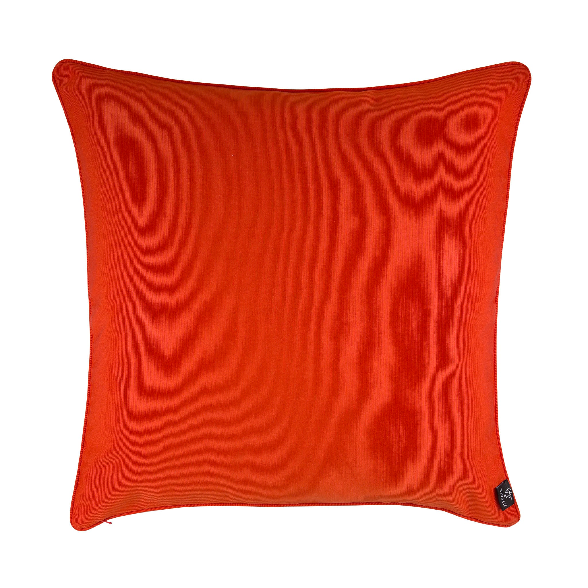 Silk twill orange & blue fish print cushion - Bivain - 3