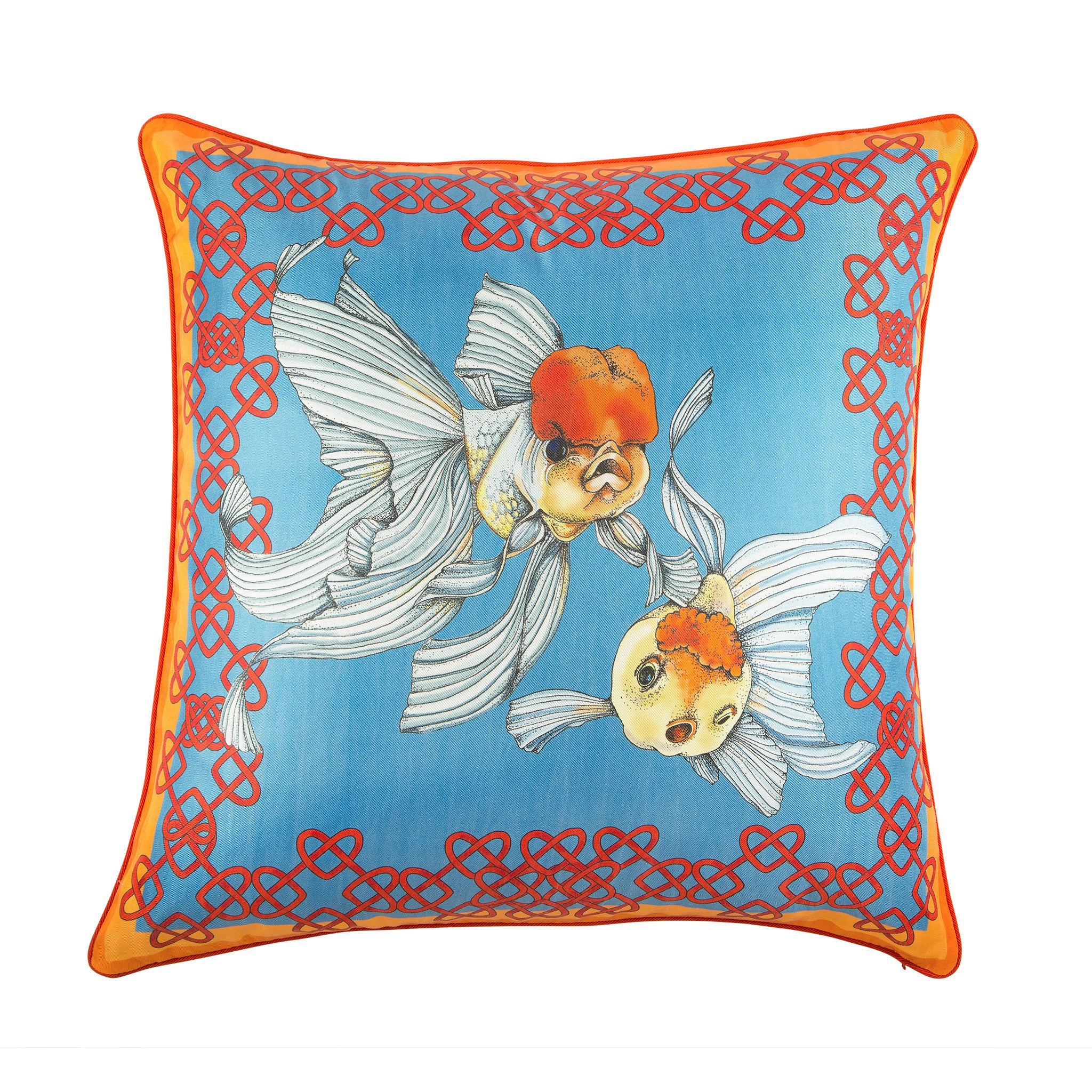 Silk twill orange & blue fish print cushion - Bivain - 1