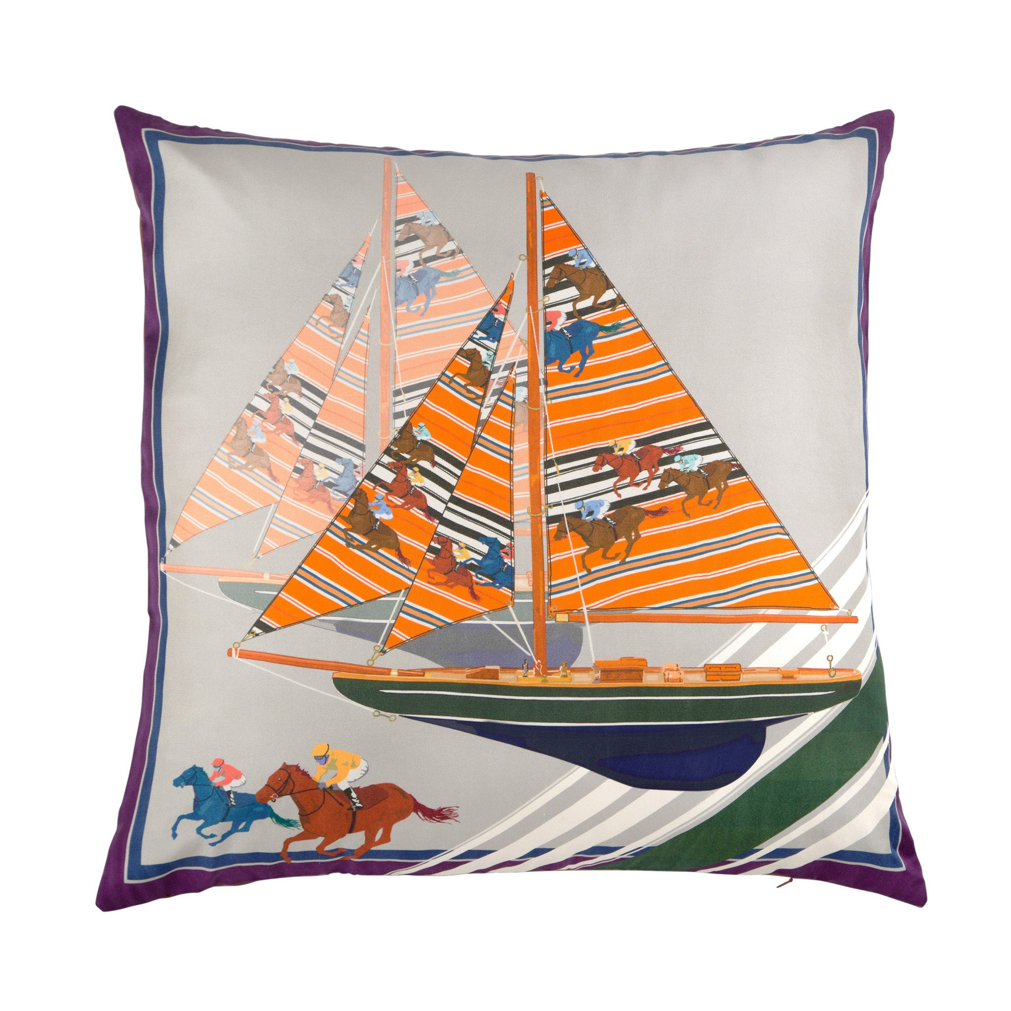 Silk twill and soft faux leather sailboat print cushion - Bivain - 1