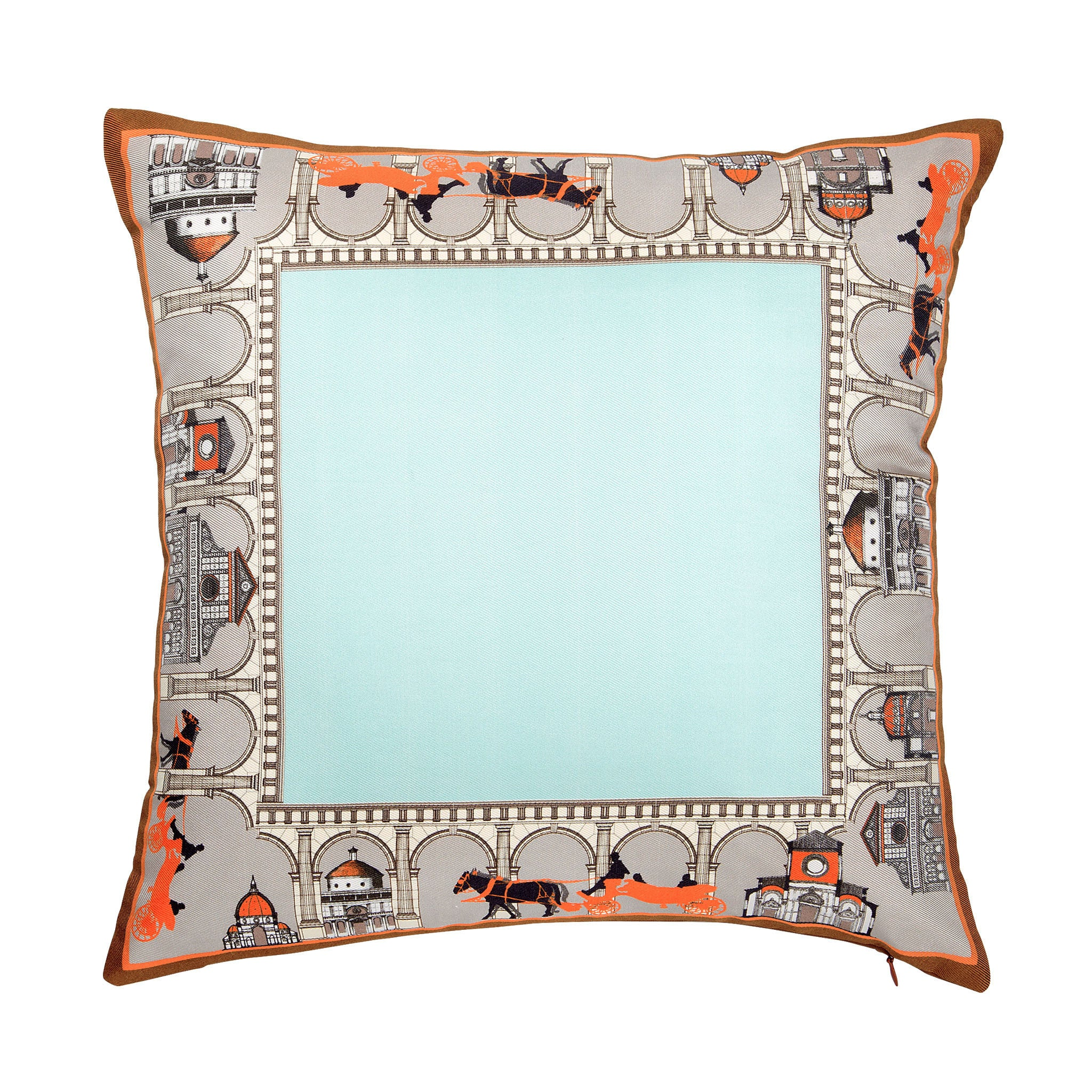 Silk twill and faux leather architectural print cushion - Bivain - 1