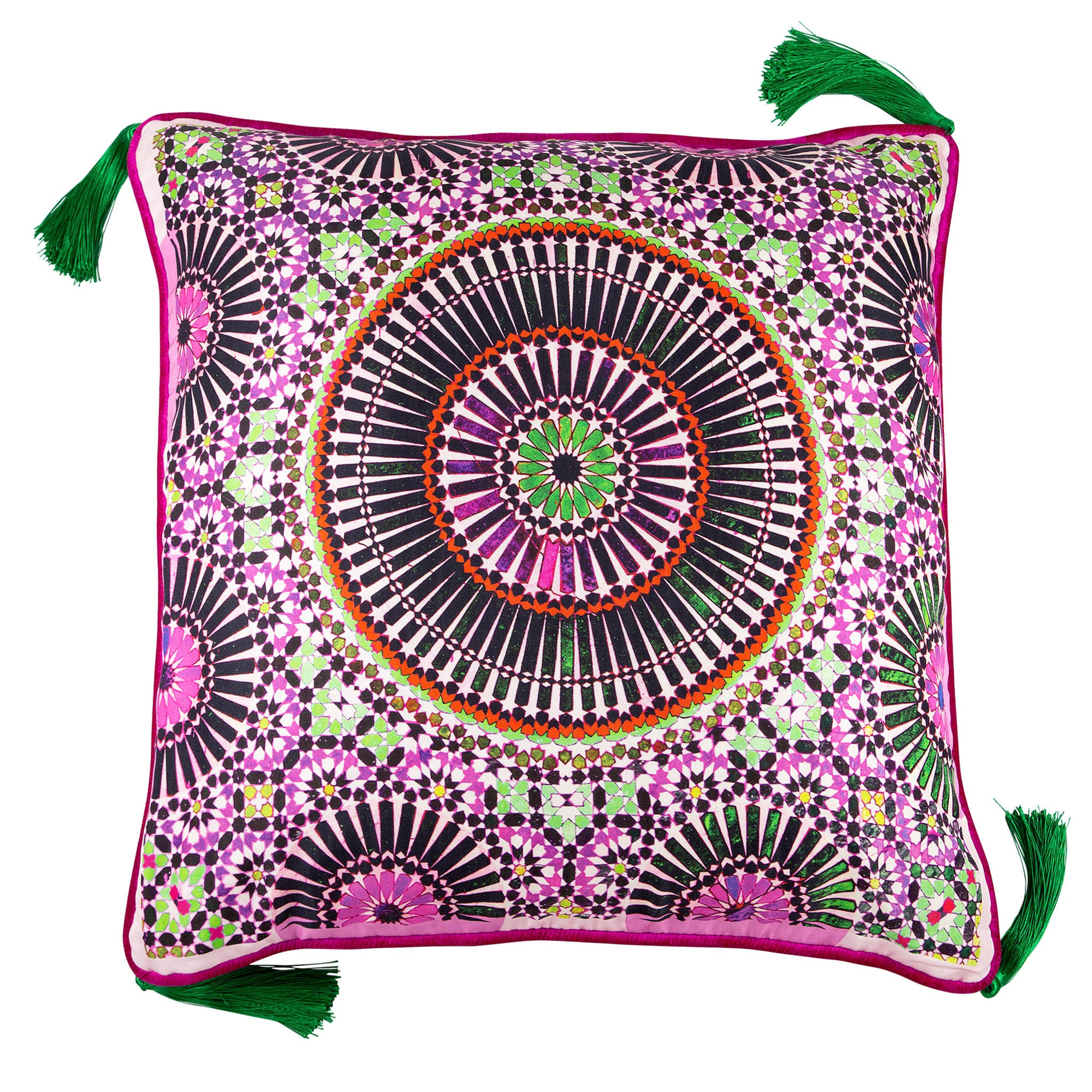 Silk twill and velvet zellige print Moroccan floor cushion - Bivain - 1