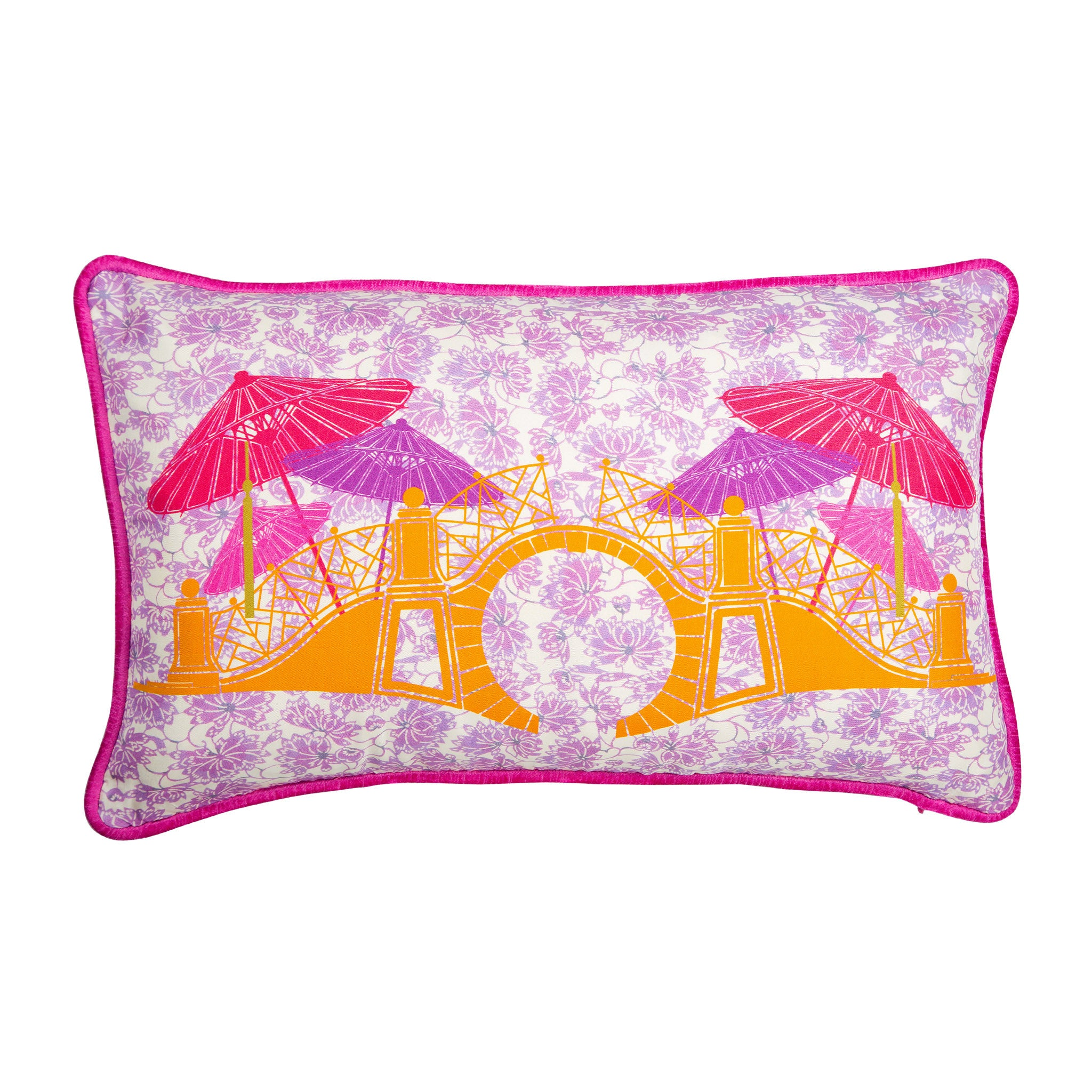 Silk twill and velvet lilac Japanese print cushion - Bivain - 1