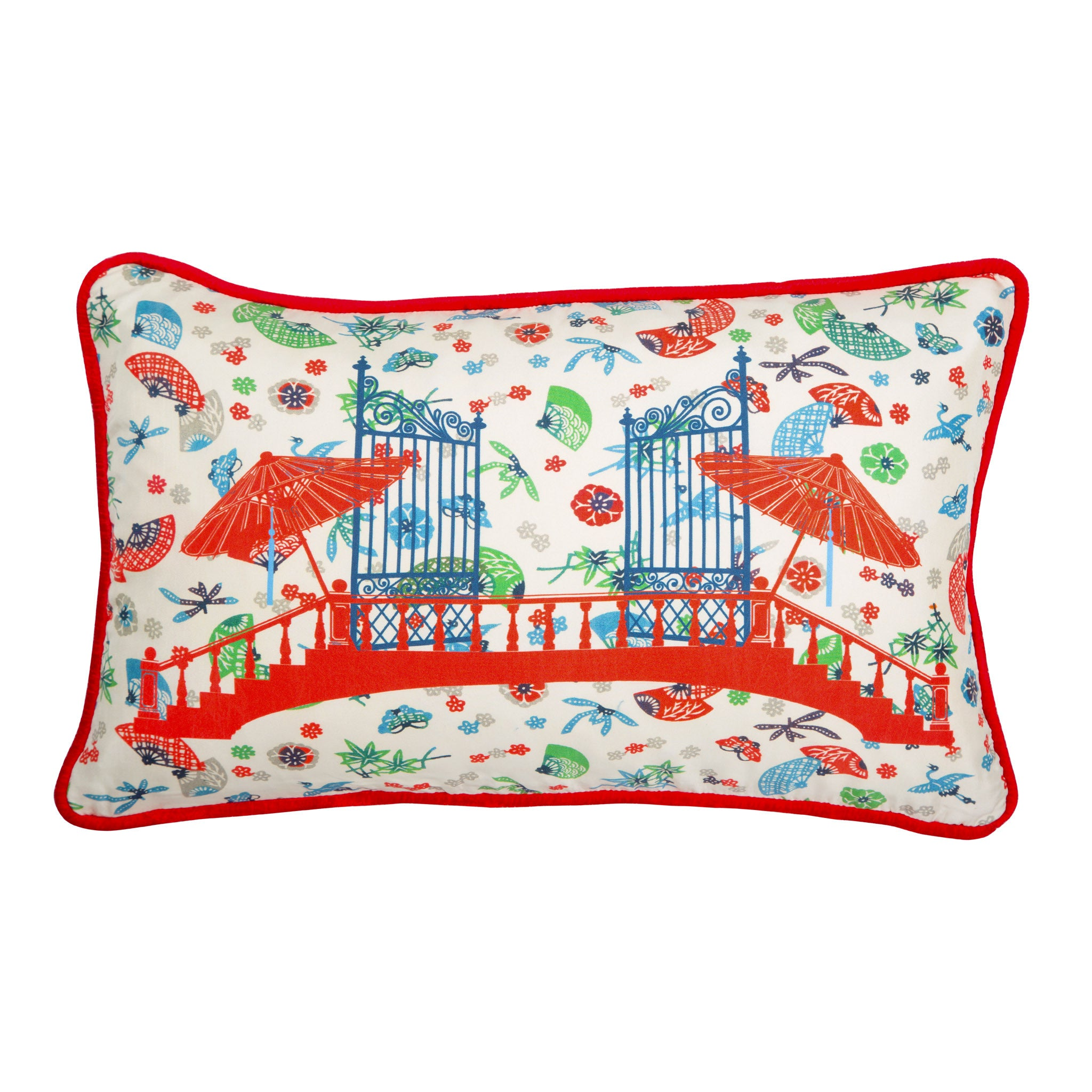 Silk twill and velvet red Japanese print cushion - Bivain - 1