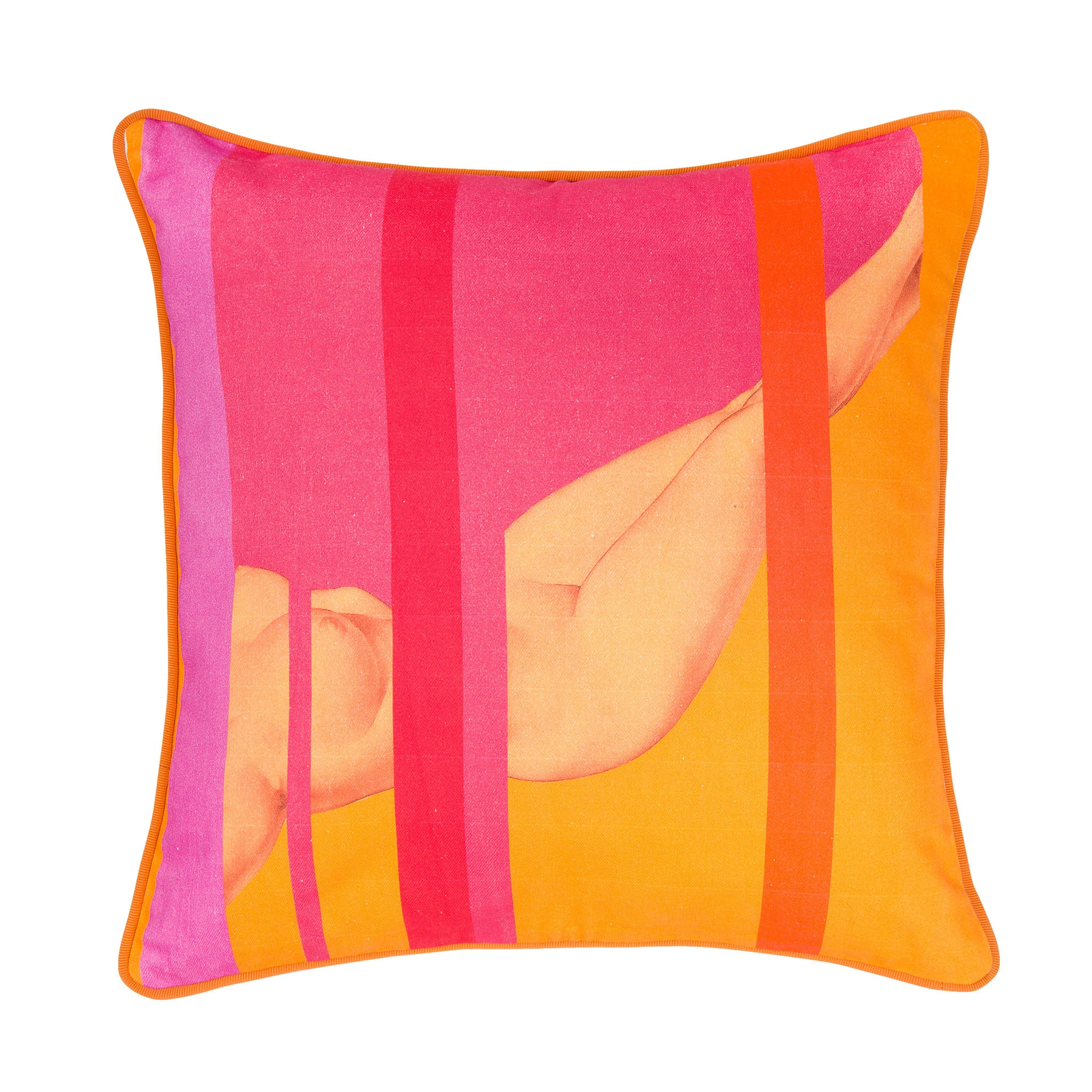 Cotton orange & pink reclining nude print cushion - Bivain - 1