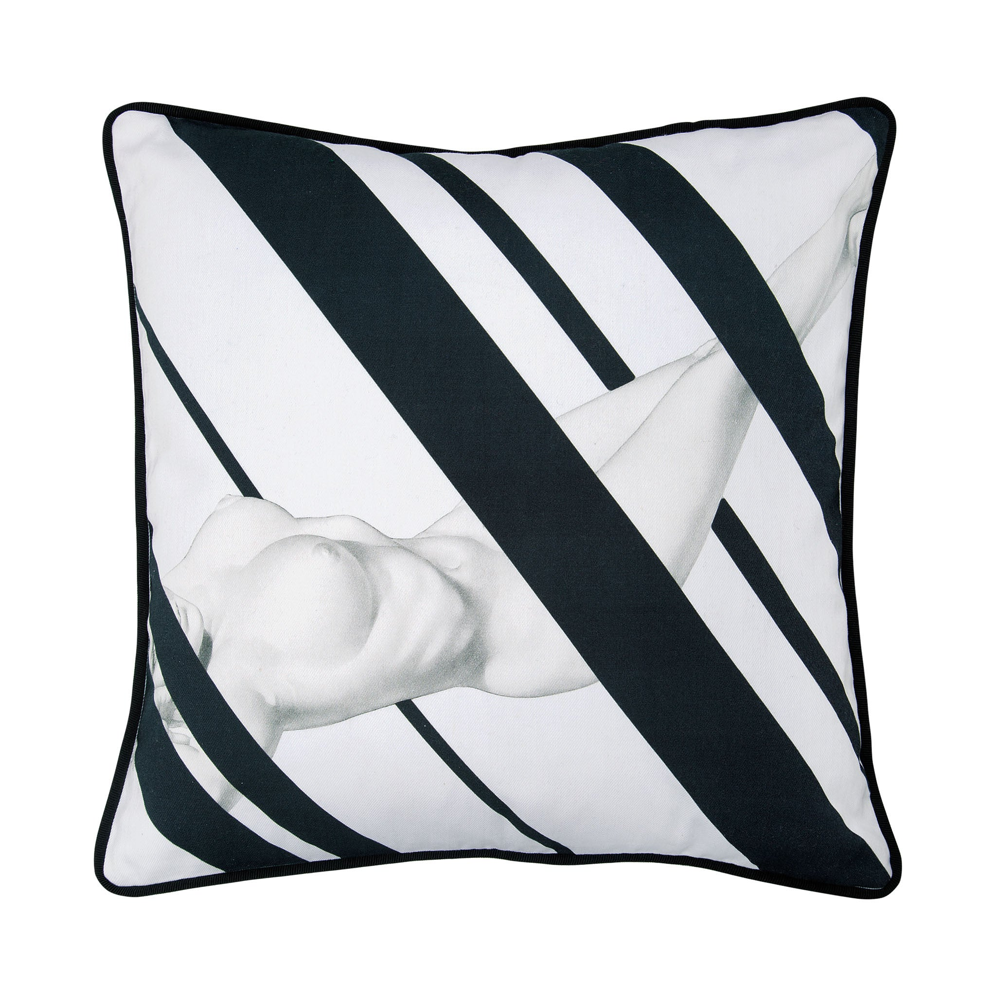 Cotton black & white reclining nude print cushion - Bivain - 1