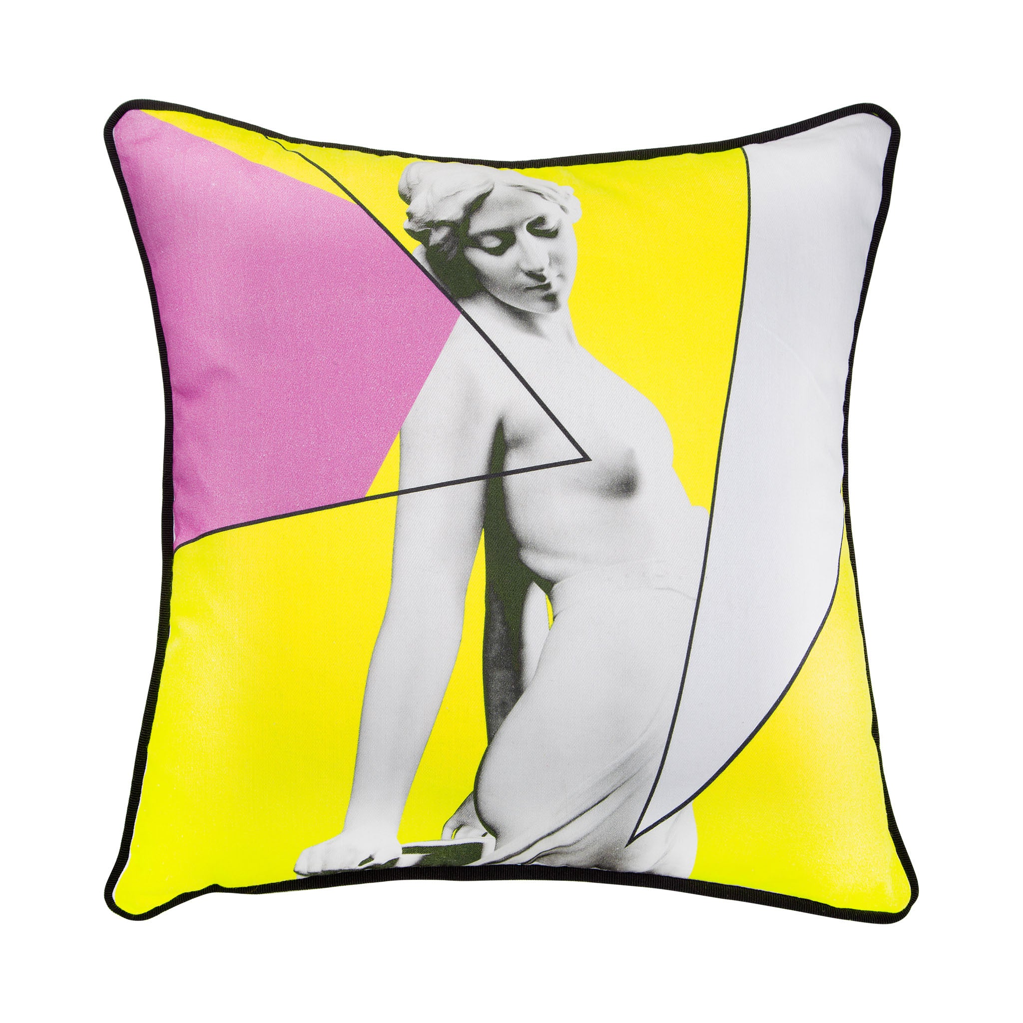 Cotton geometric and statue print yellow cushion - Bivain - 1
