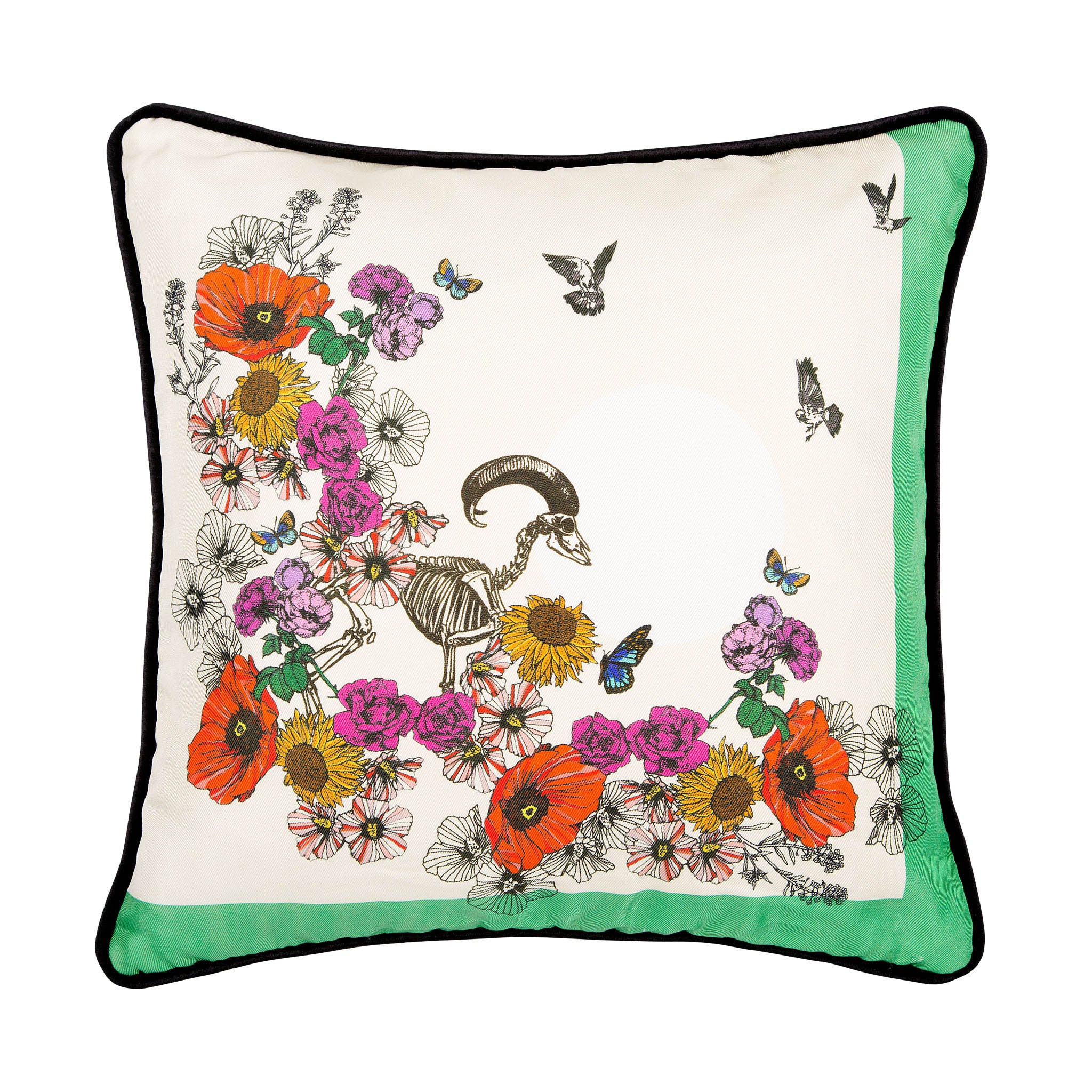 Silk twill and velvet floral print cushion - Bivain - 1