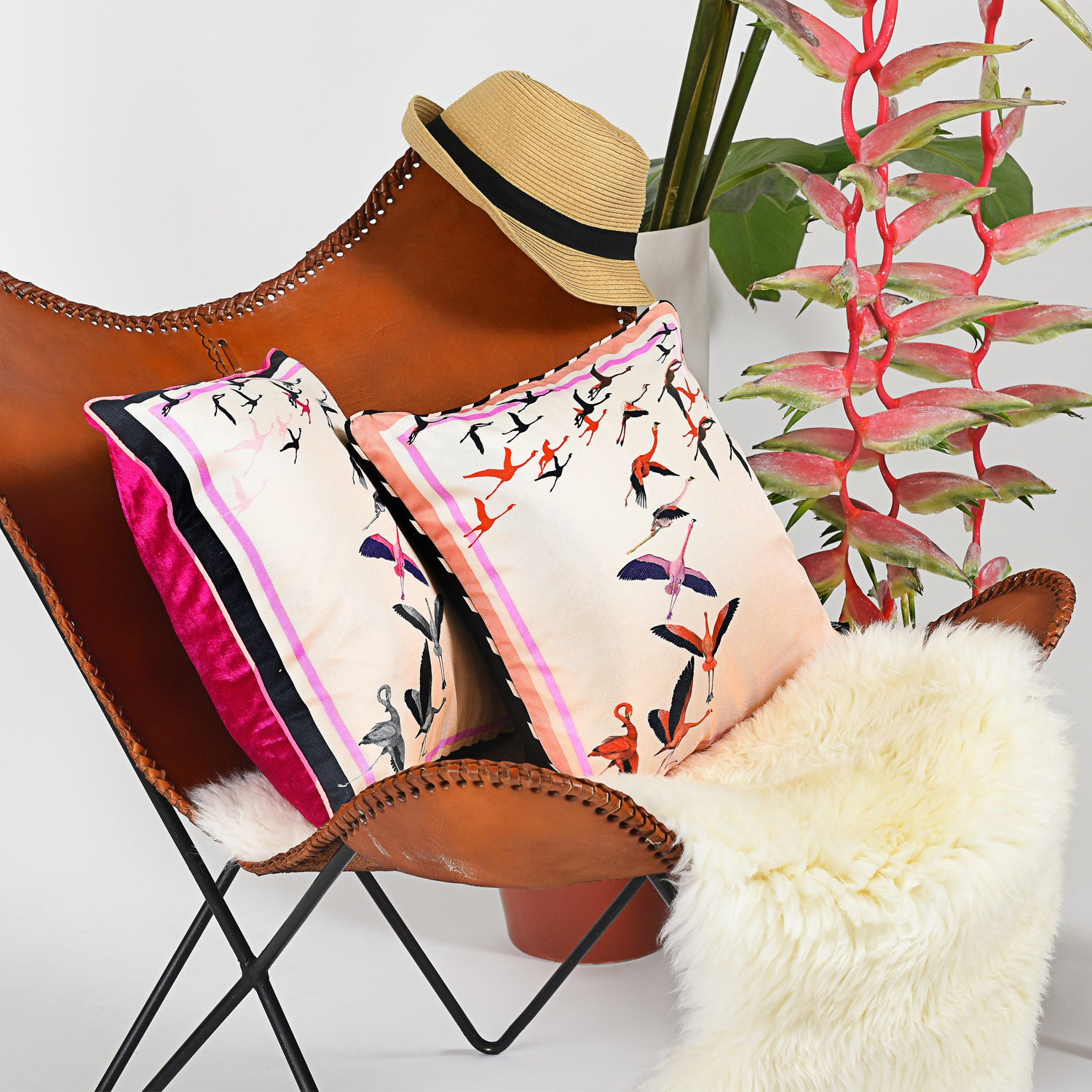 Silk twill and velvet flamingo print cushion - Bivain - 2