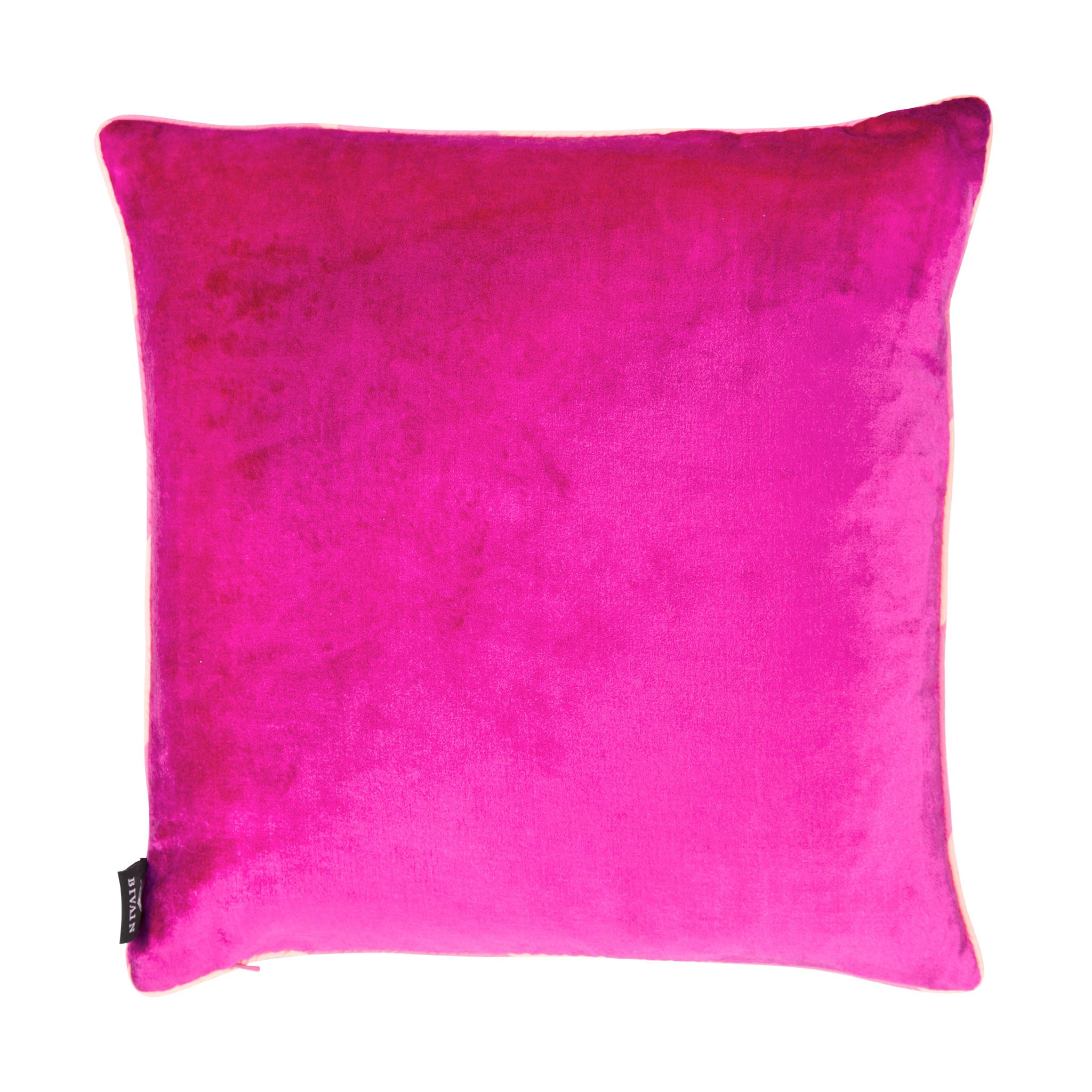 Silk twill and velvet flamingo print cushion - Bivain - 3
