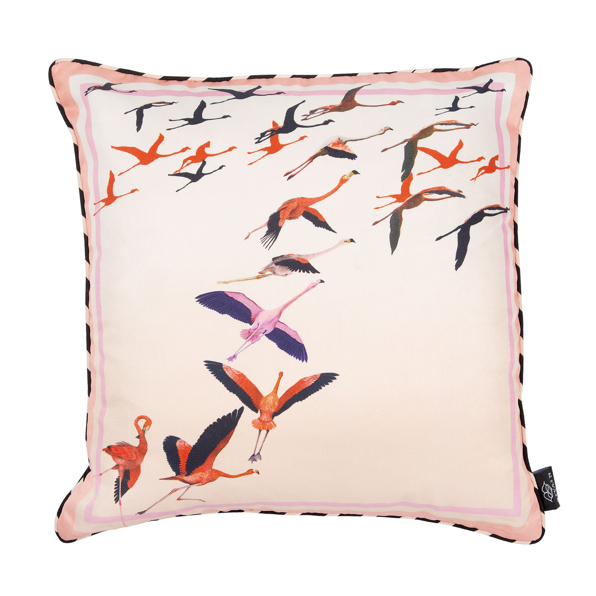Silk twill and velvet flamingo print cushion - Bivain - 1