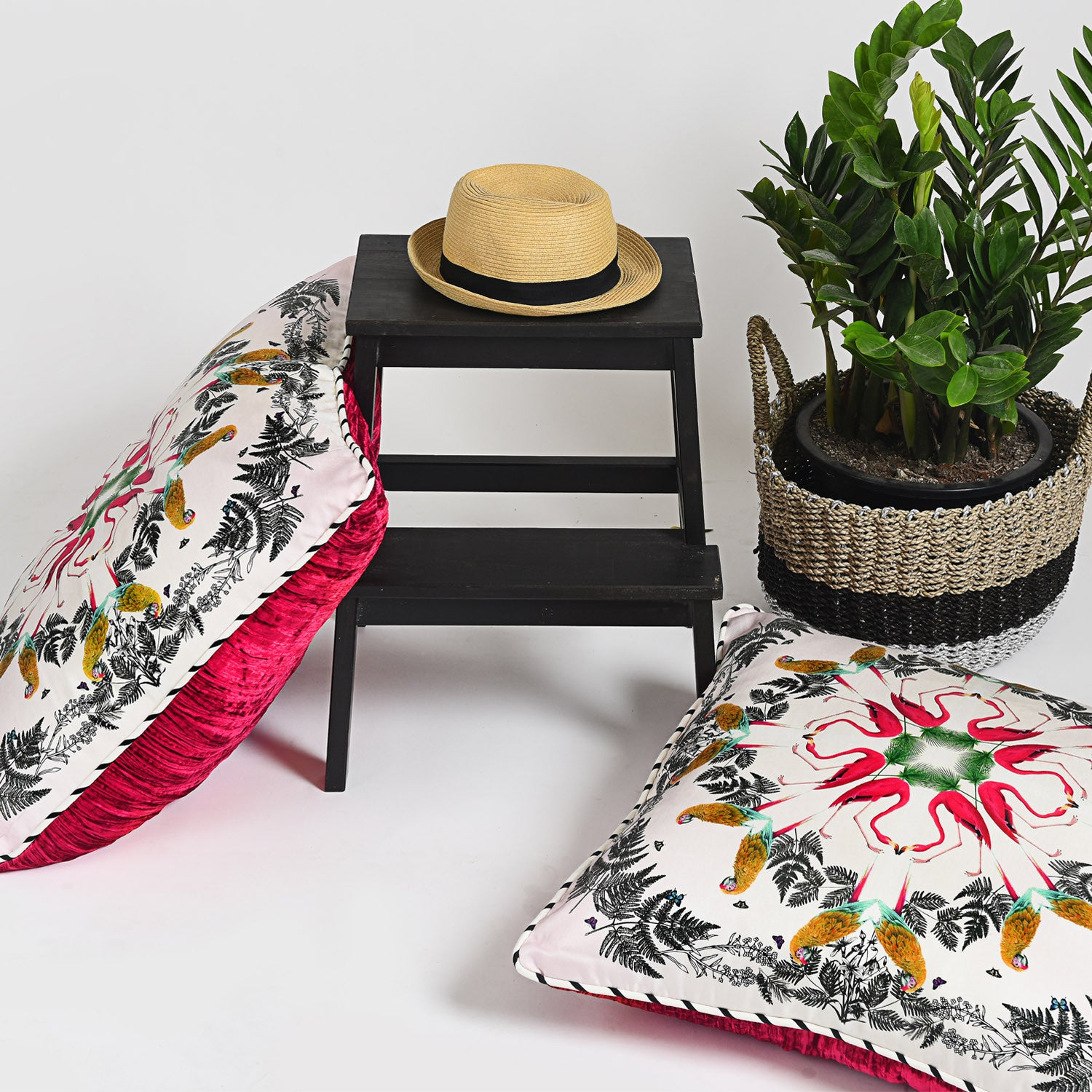 Silk twill and velvet tropical bird print cushion - Bivain - 2