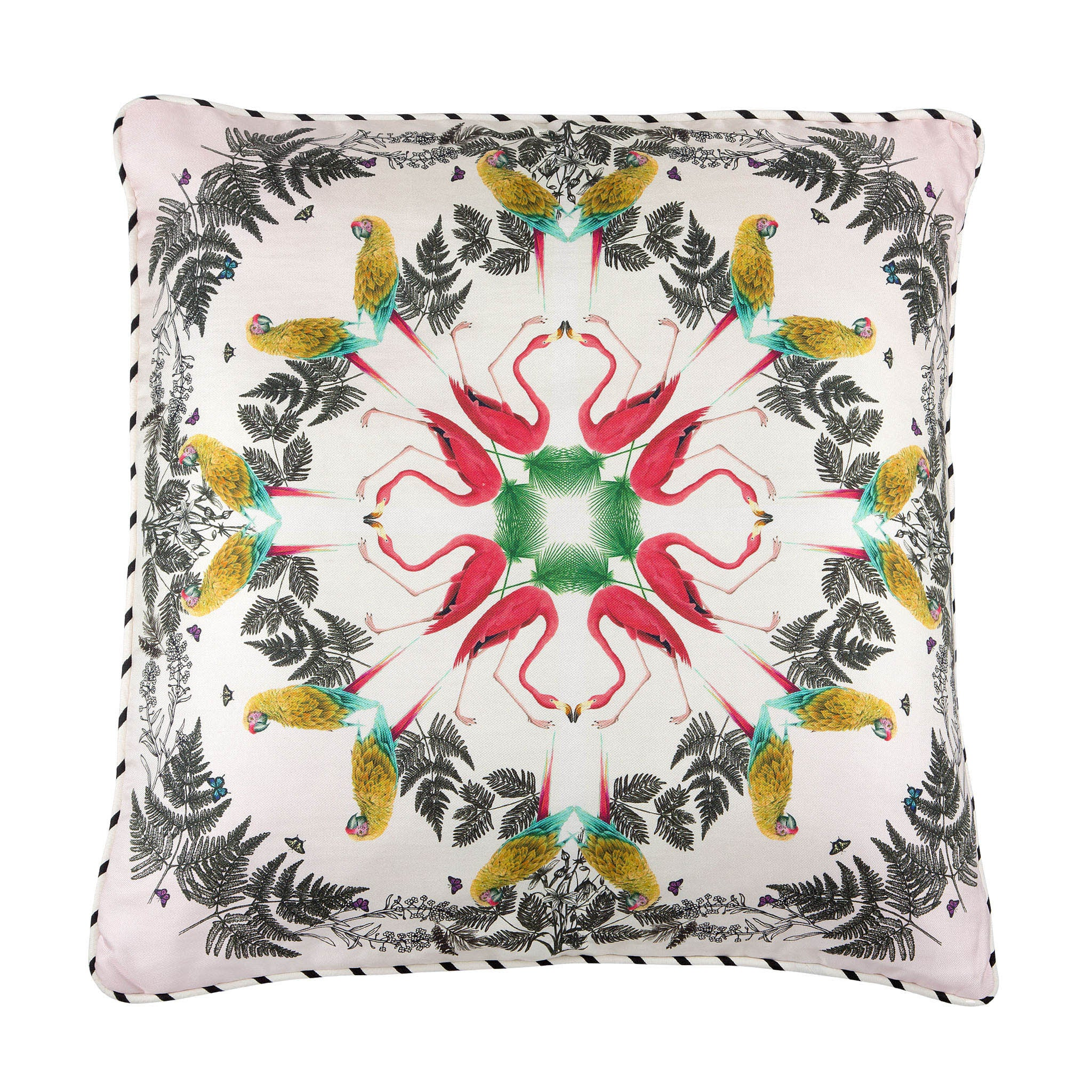 Silk twill and velvet tropical bird print cushion - Bivain - 1