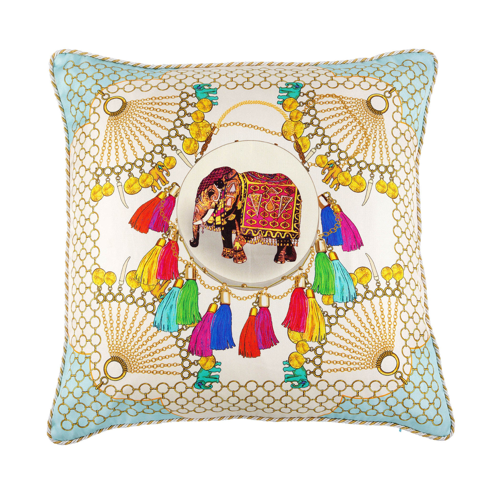 Silk twill and velvet Indian elephant print cushion - Bivain - 1