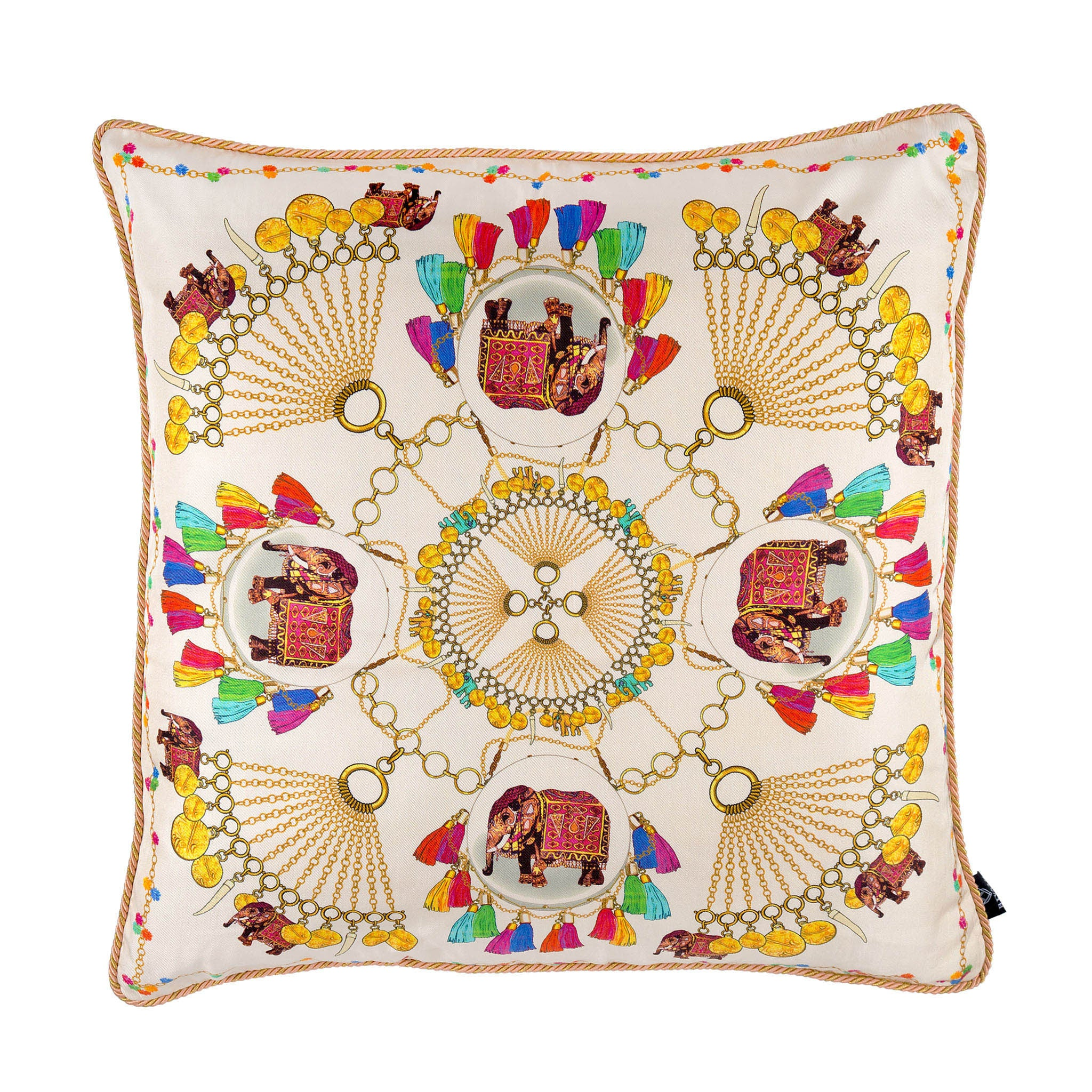 Silk twill and velvet Indian elephant and chain print cushion - Bivain - 1