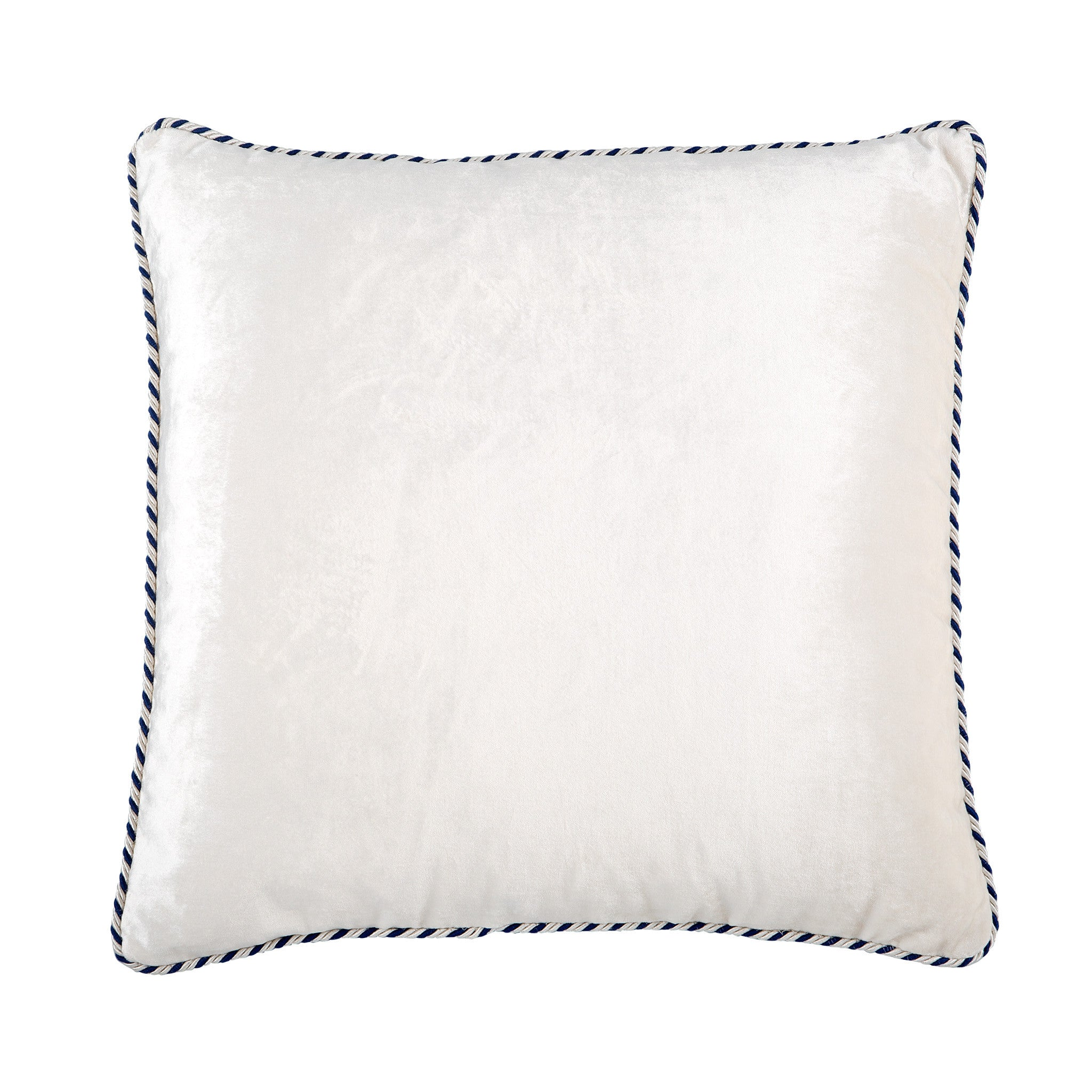 Navy & White Velvet Cushion - Bivain - 1