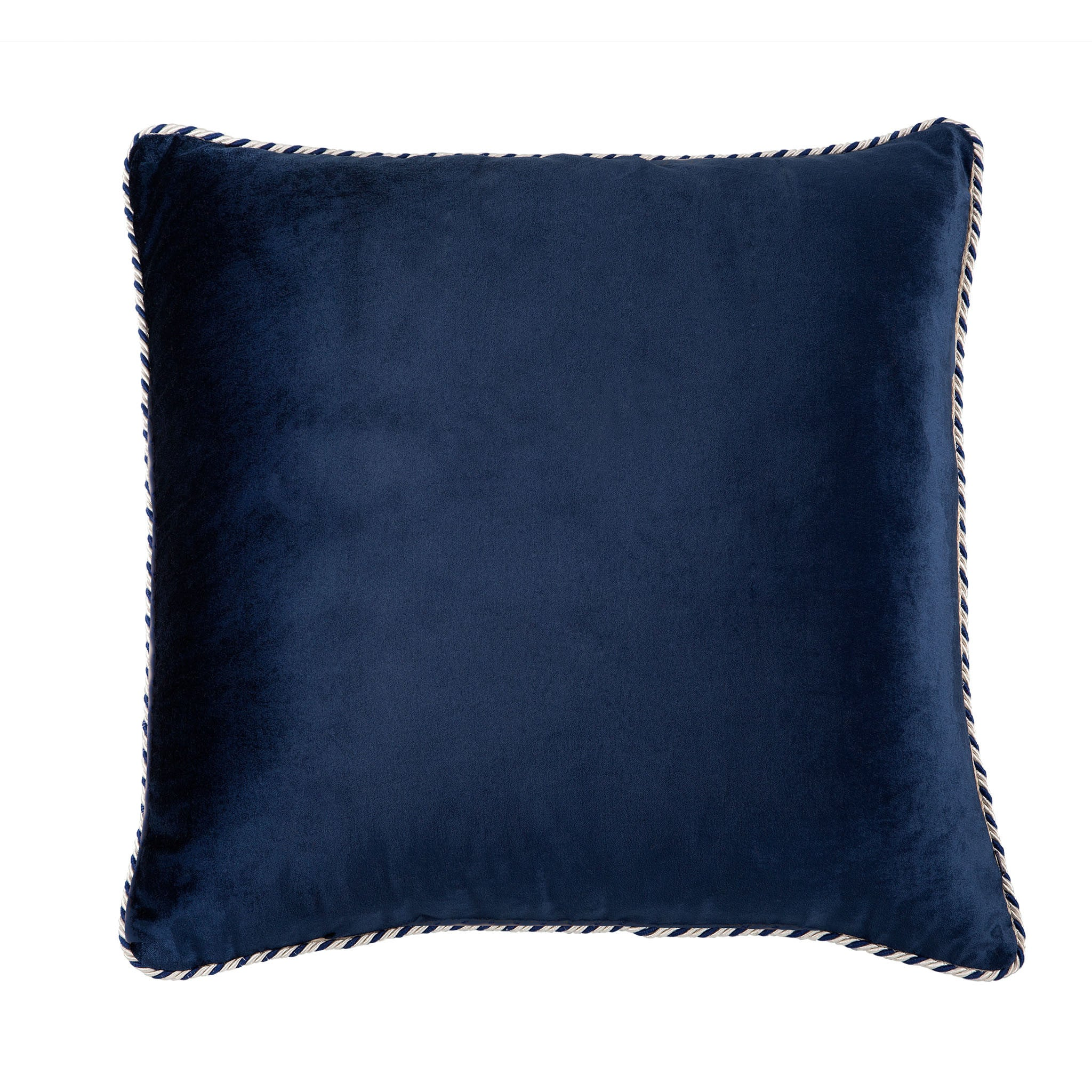 Navy & White Velvet Cushion - Bivain - 2