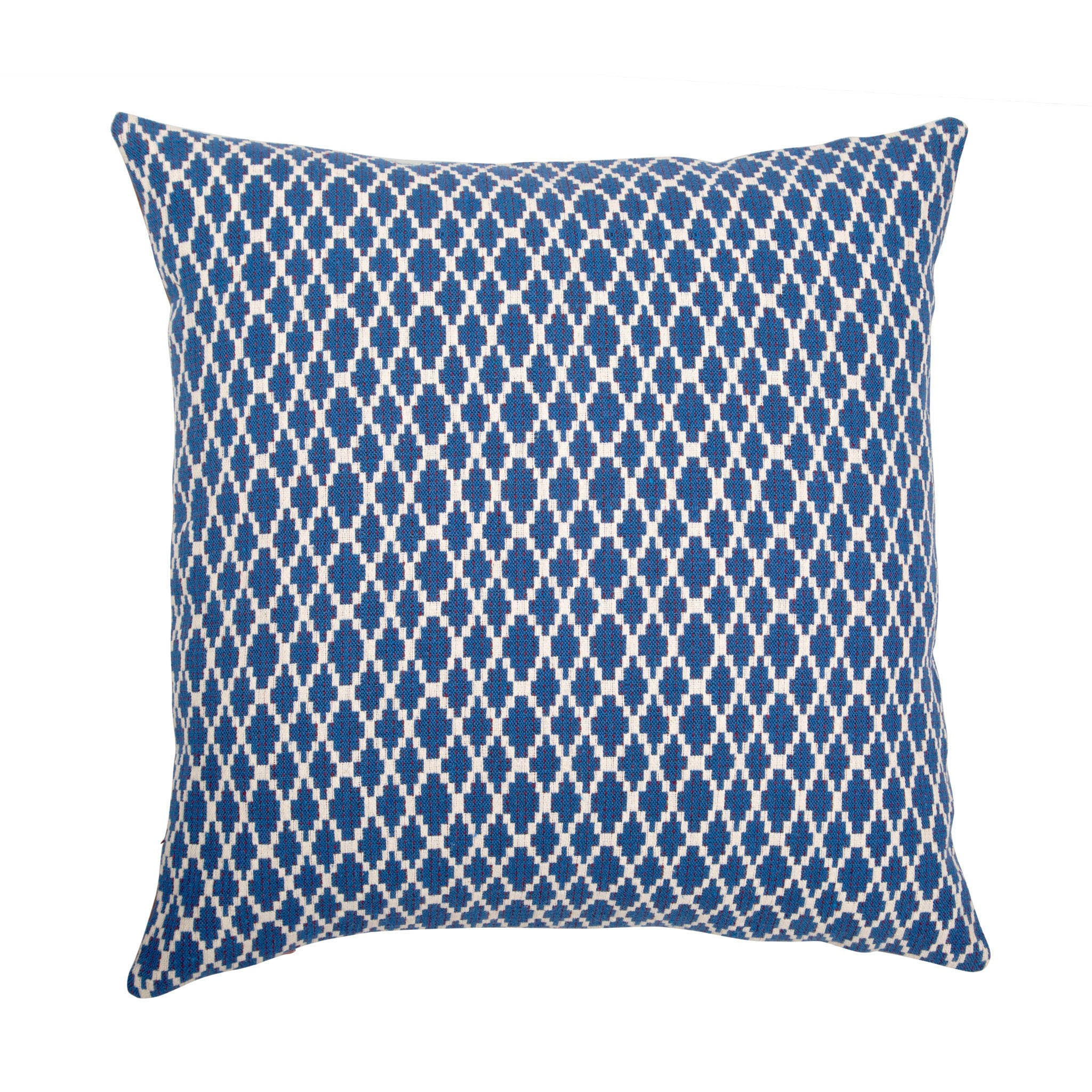 Leather cushion with blue and white cotton Jacquard back - Bivain - 2