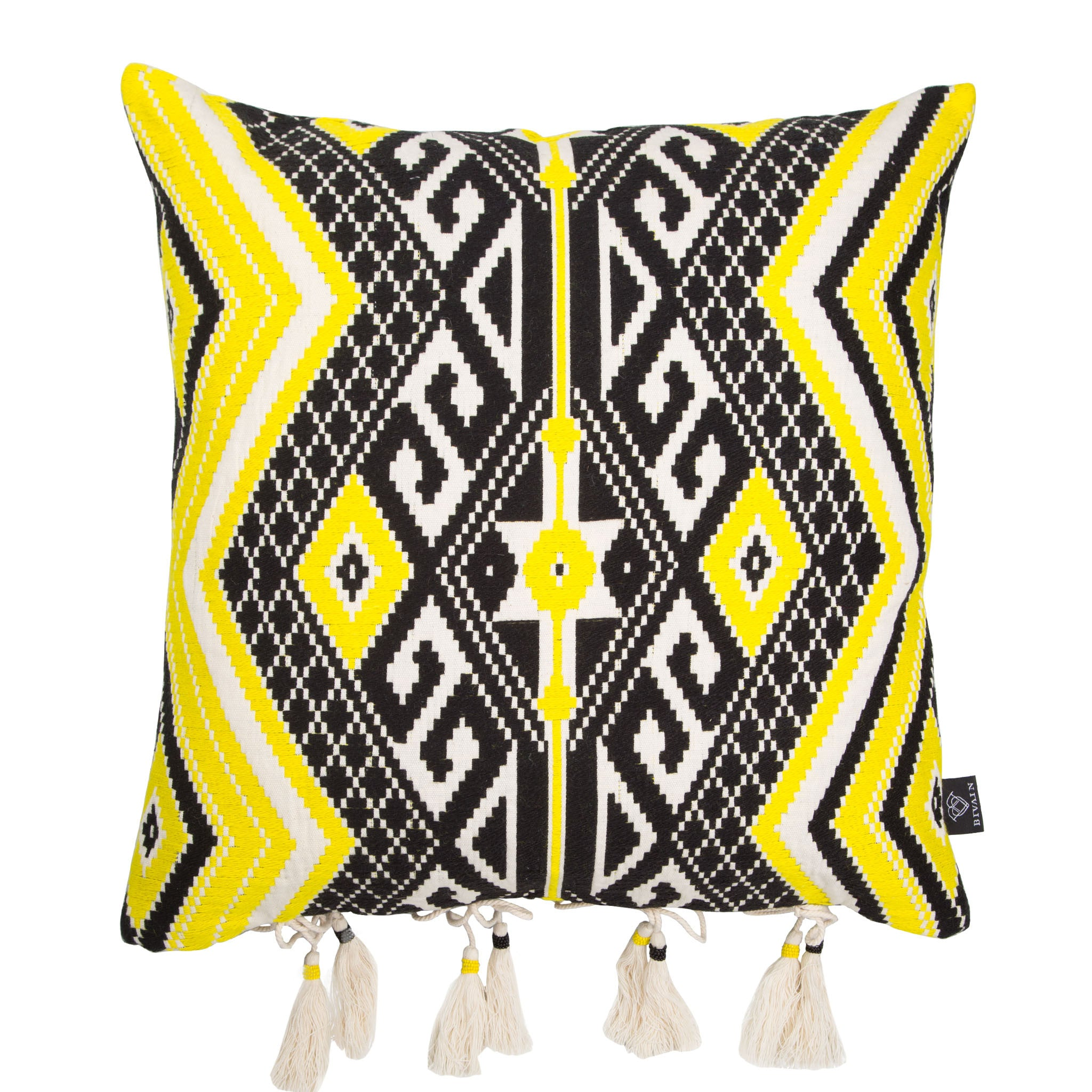 Bedouin-style yellow, black & white tasselled cotton cushion - Bivain - 2