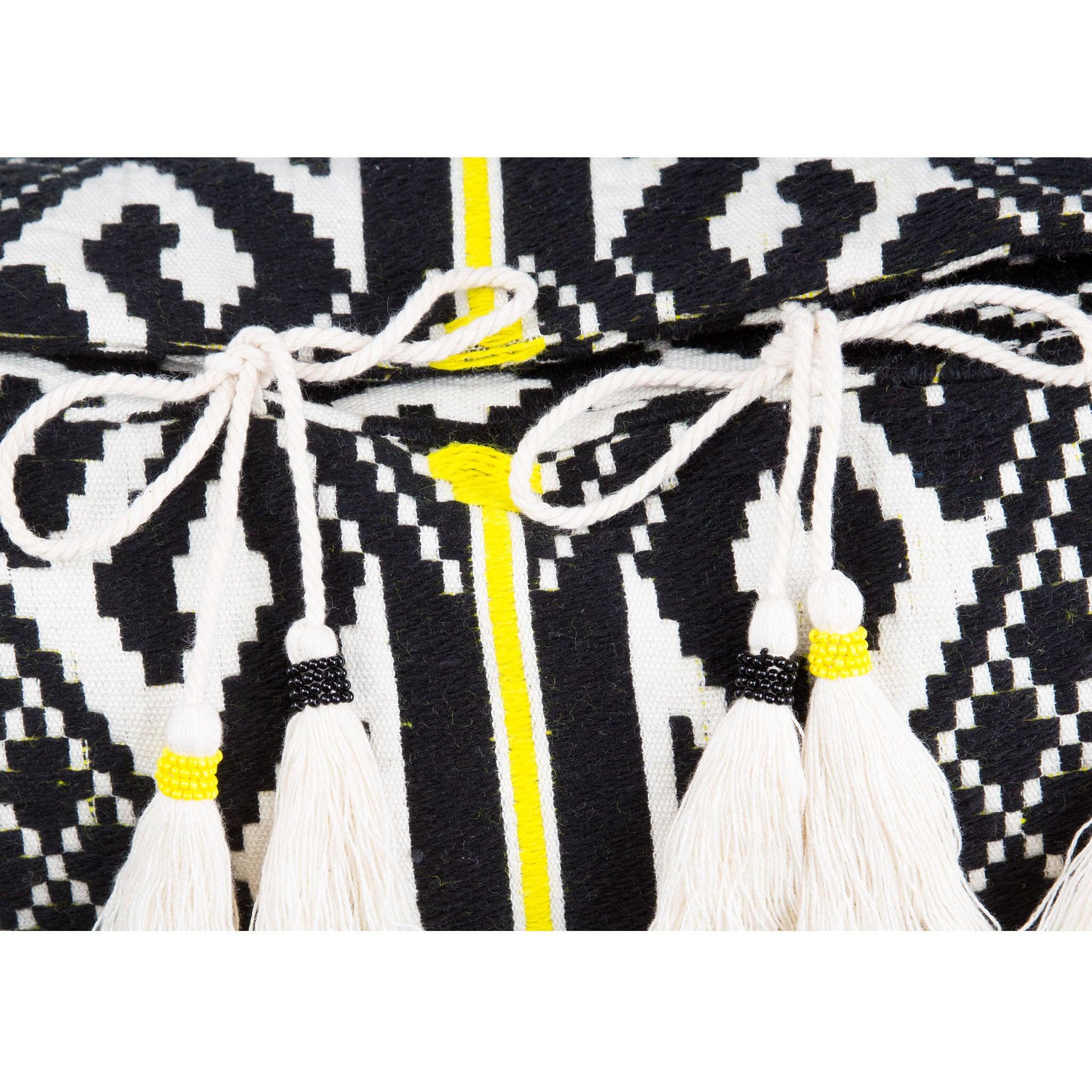 Bedouin-style yellow, black & white tasselled cotton cushion - Bivain - 4