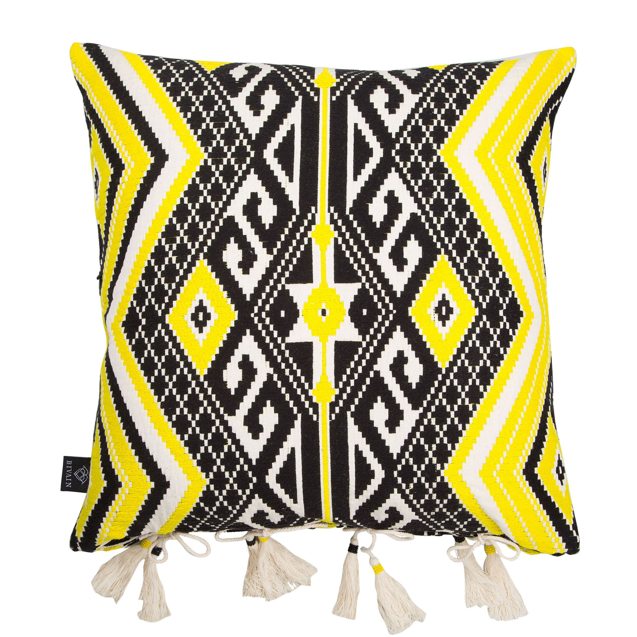 Bedouin-style yellow, black & white tasselled cotton cushion - Bivain - 1