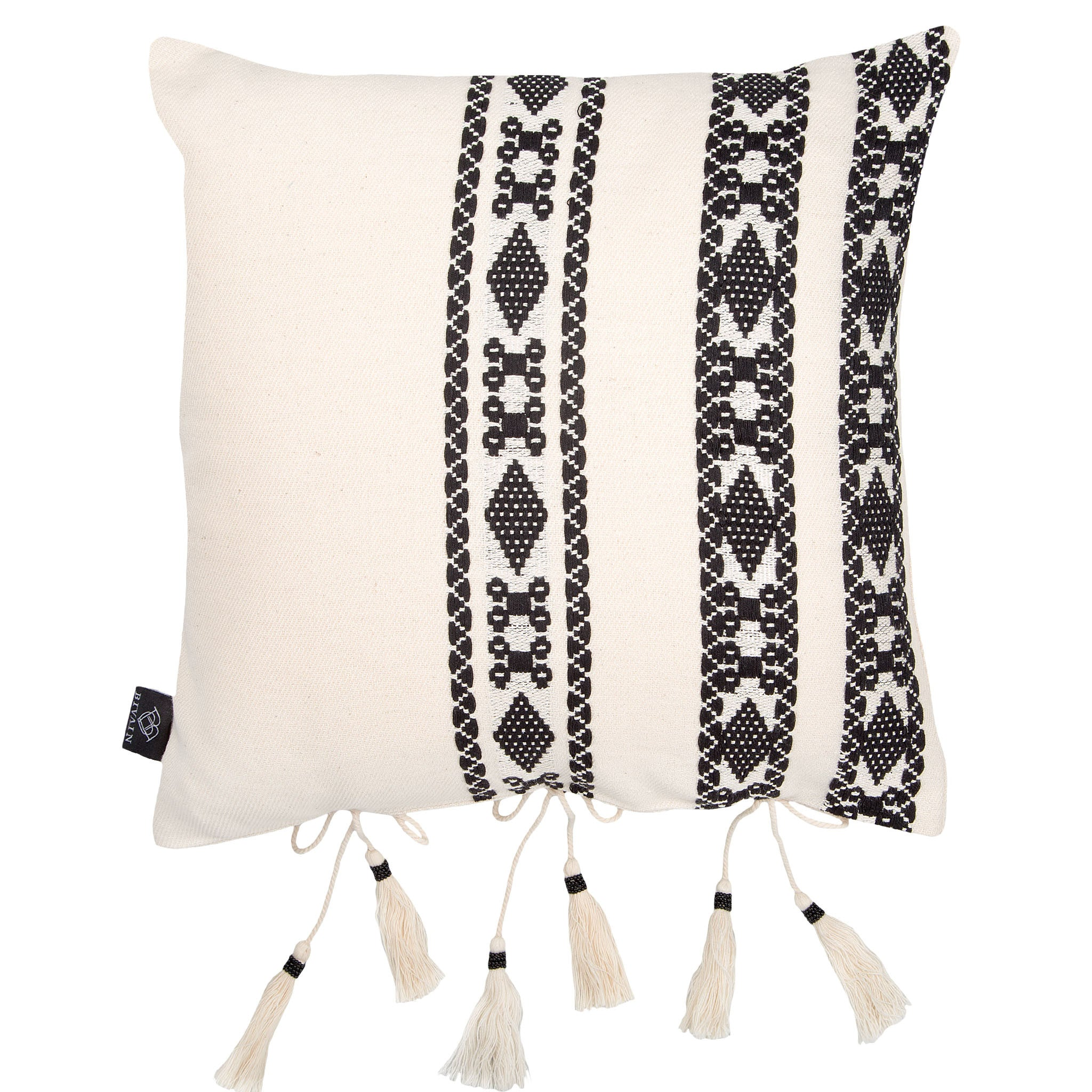 Bedouin-style black & white tasselled cotton cushion - Bivain - 2