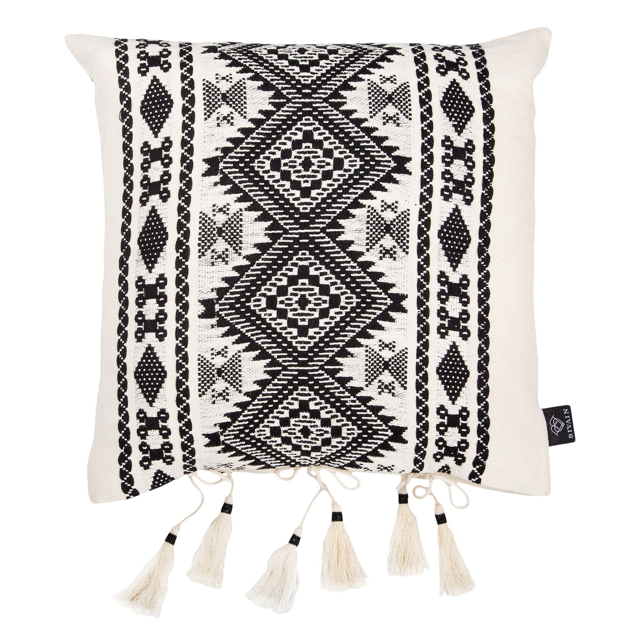 Bedouin-style black & white tasselled cotton cushion - Bivain - 1