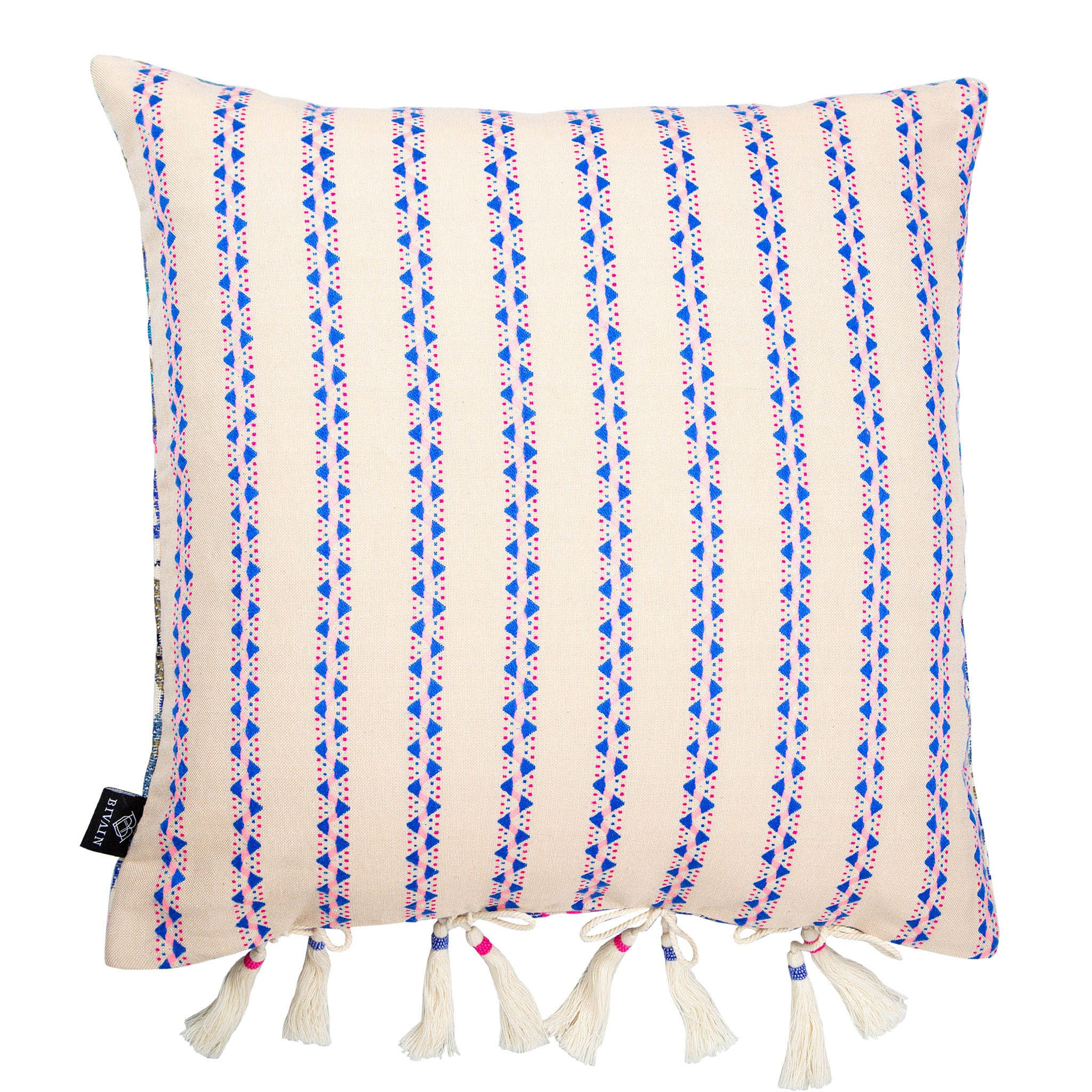 Bedouin-style pink, blue & white cotton tasselled cushion - Bivain - 2
