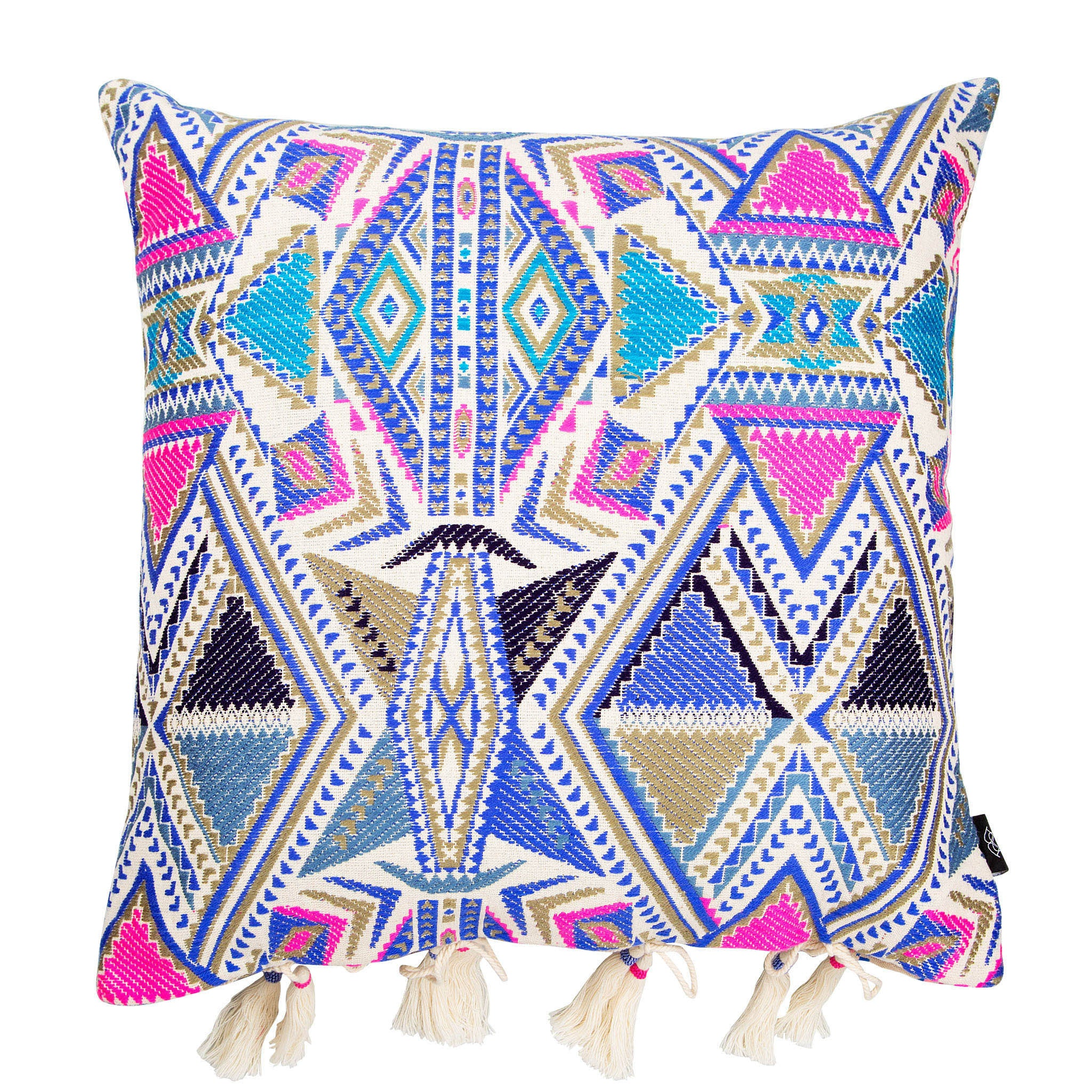 Bedouin-style pink, blue & white cotton tasselled cushion - Bivain - 1