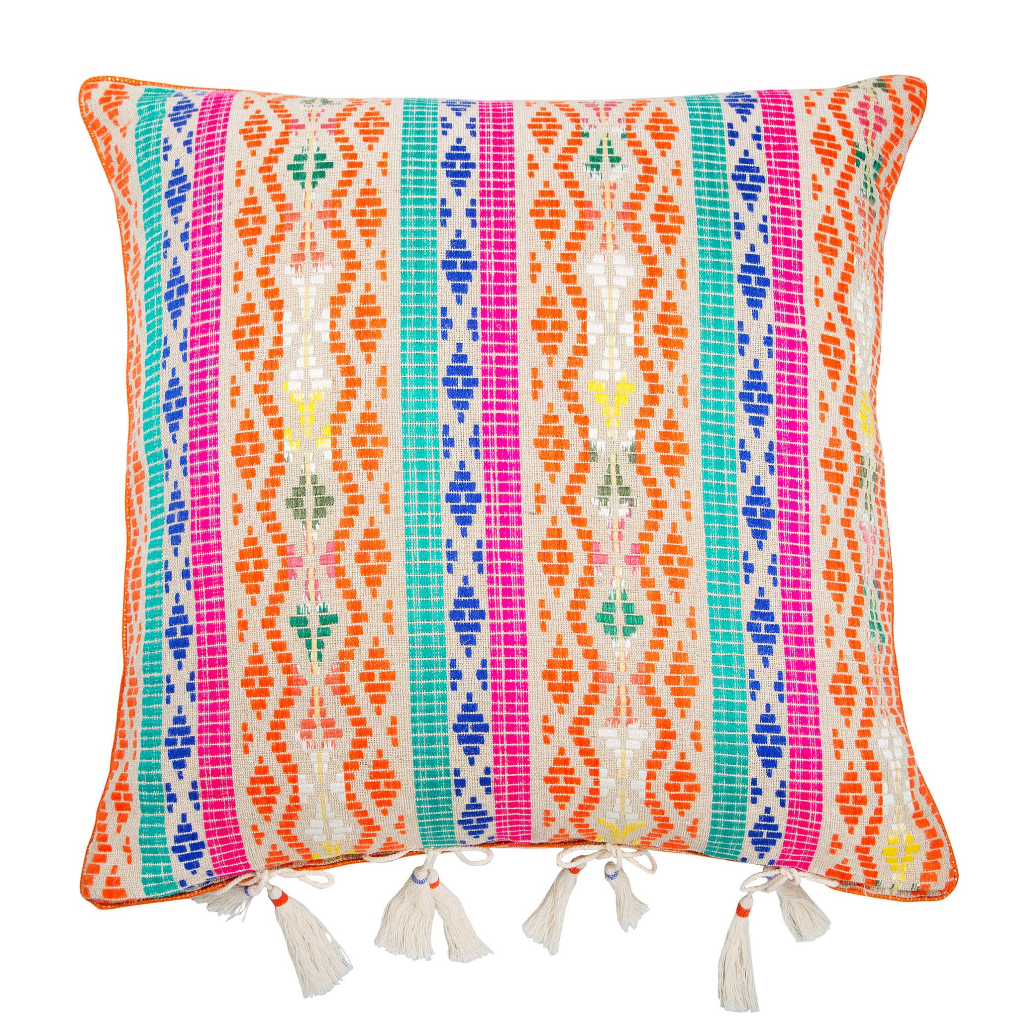 Moroccan Berber-style orange hemp tasselled cushion - Bivain - 1