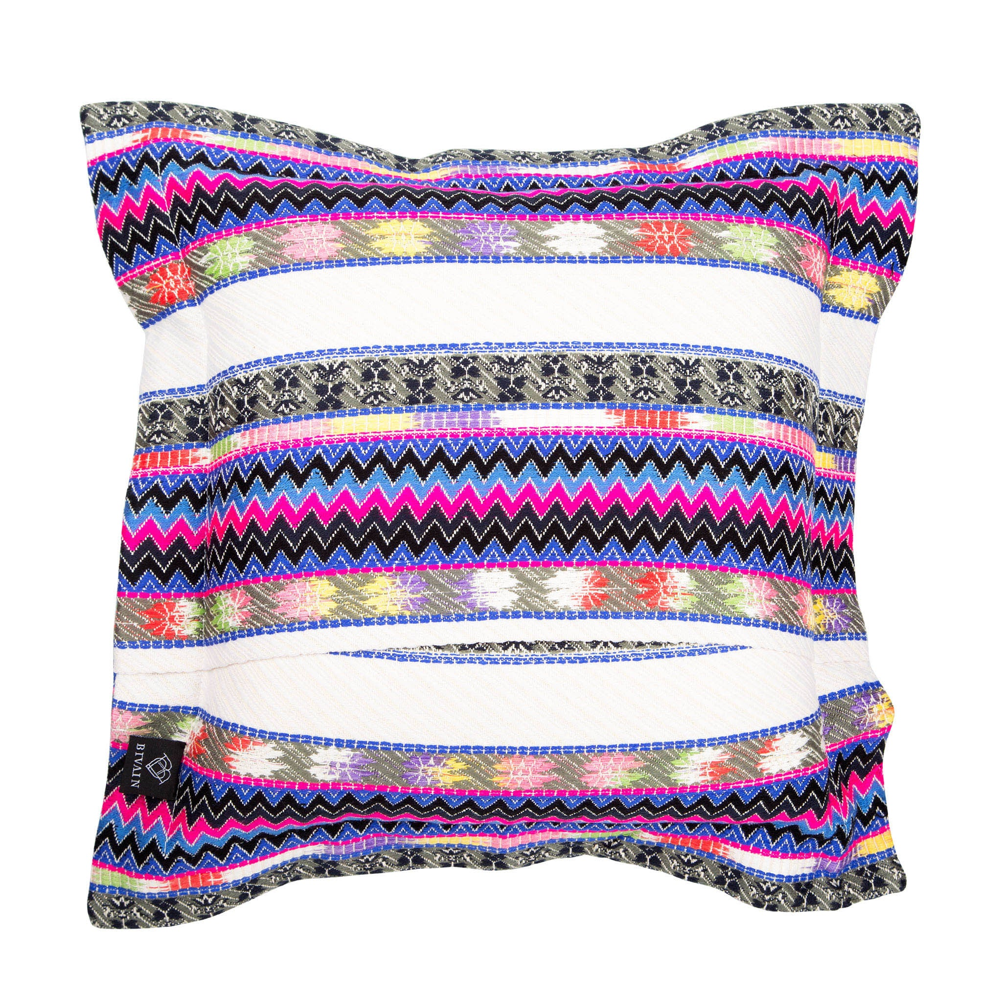 Bedouin-style cotton cushion with pink tassels - Bivain - 2