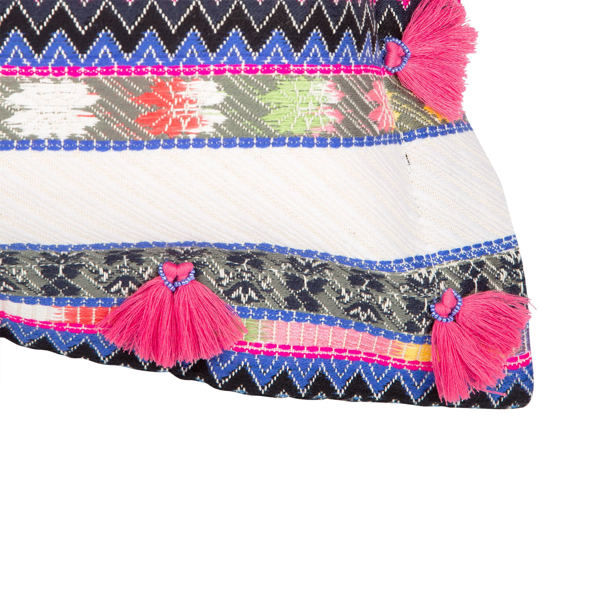 Bedouin-style cotton cushion with pink tassels - Bivain - 4