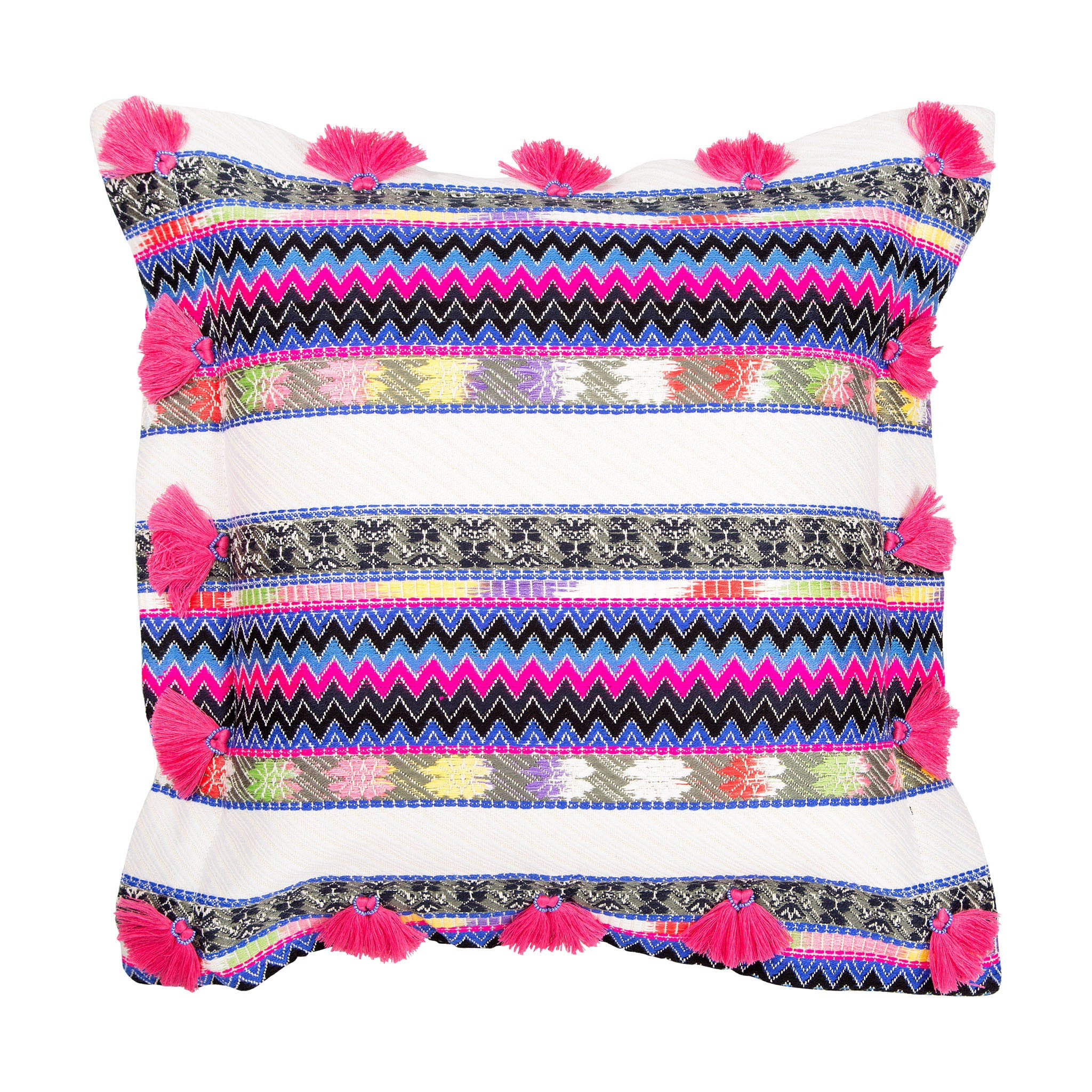 Bedouin-style cotton cushion with pink tassels - Bivain - 1