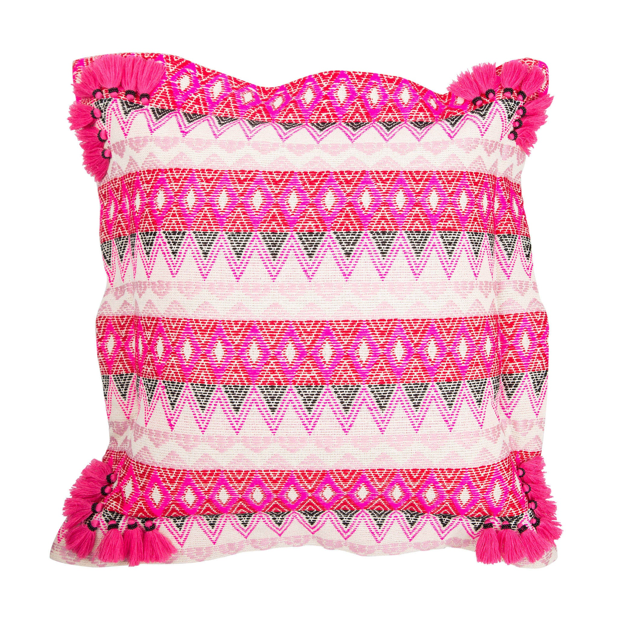 Bedouin-style pink cotton tasselled cushion - Bivain - 1