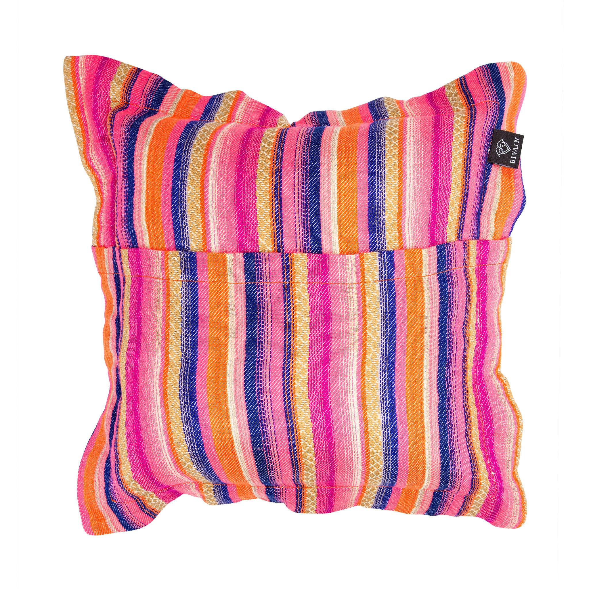 Bedouin-style orange cotton tasselled cushion - Bivain - 3