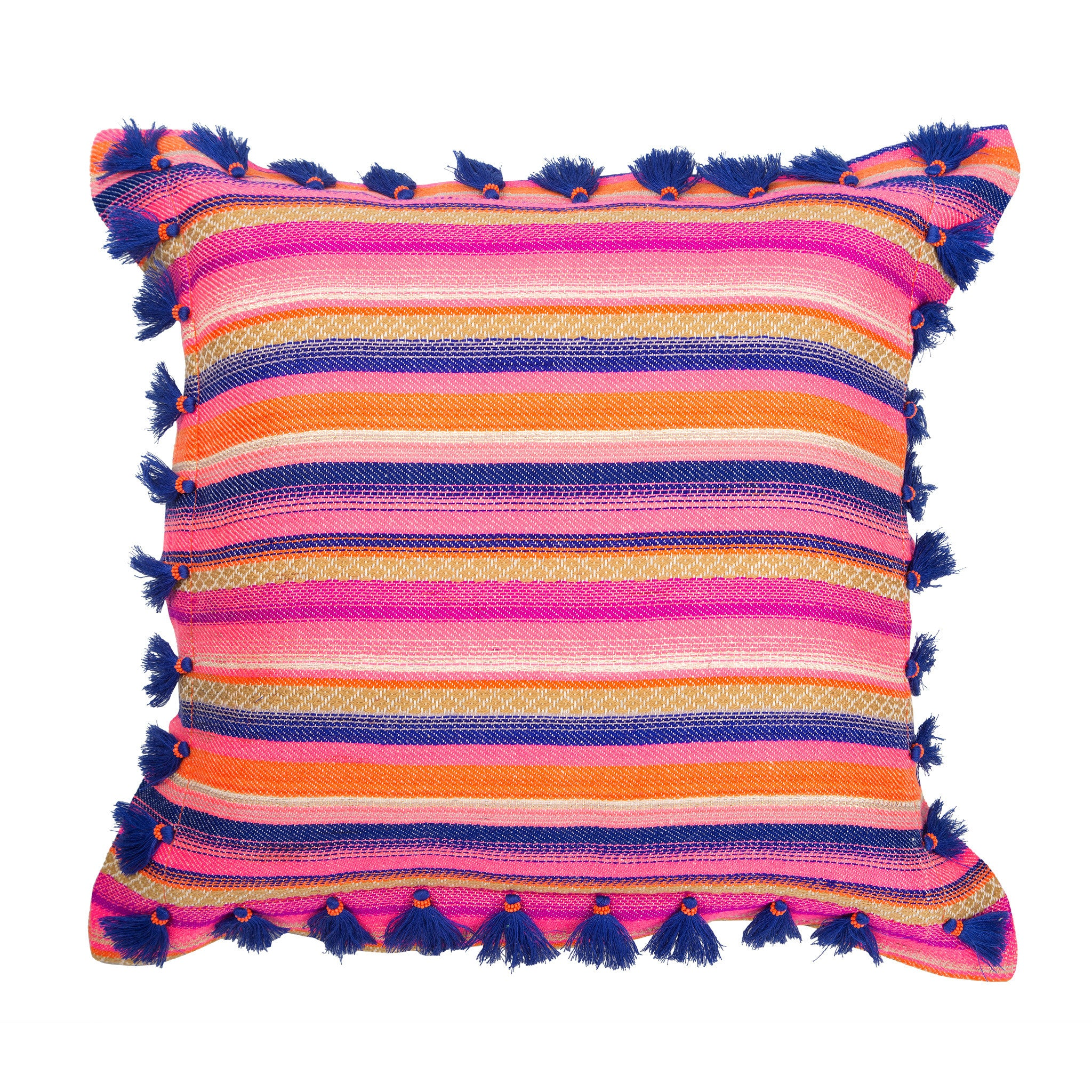 Bedouin-style orange cotton tasselled cushion - Bivain - 1