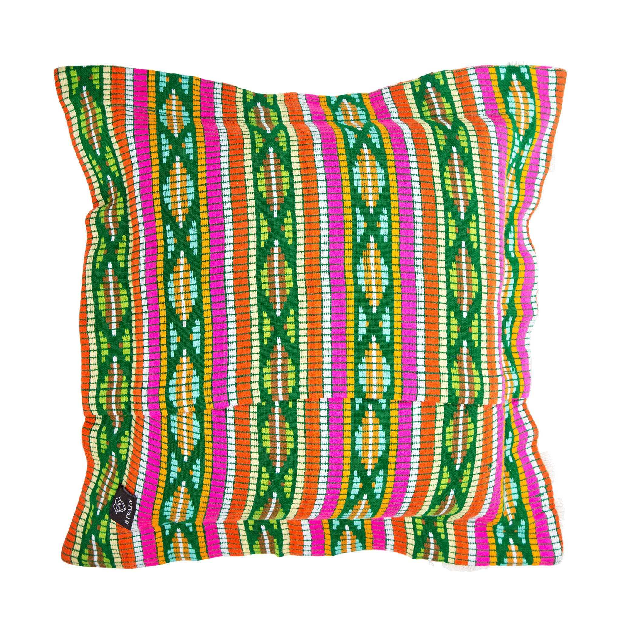 Bedouin-style green cotton tasselled cushion - Bivain - 3