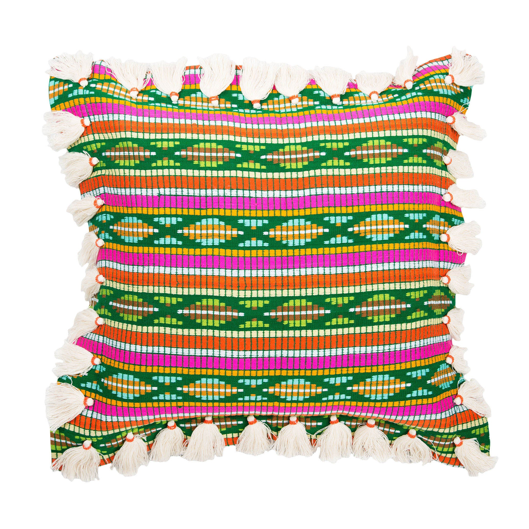 Bedouin-style green cotton tasselled cushion - Bivain - 1