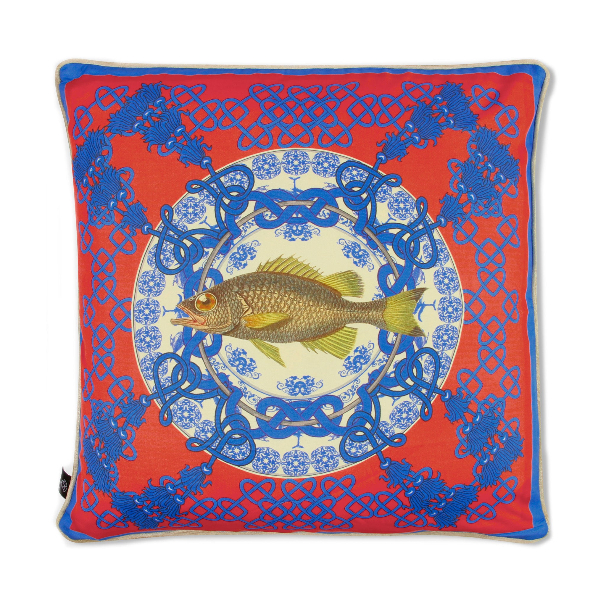 Silk twill and velvet fish print red cushion - Bivain - 1