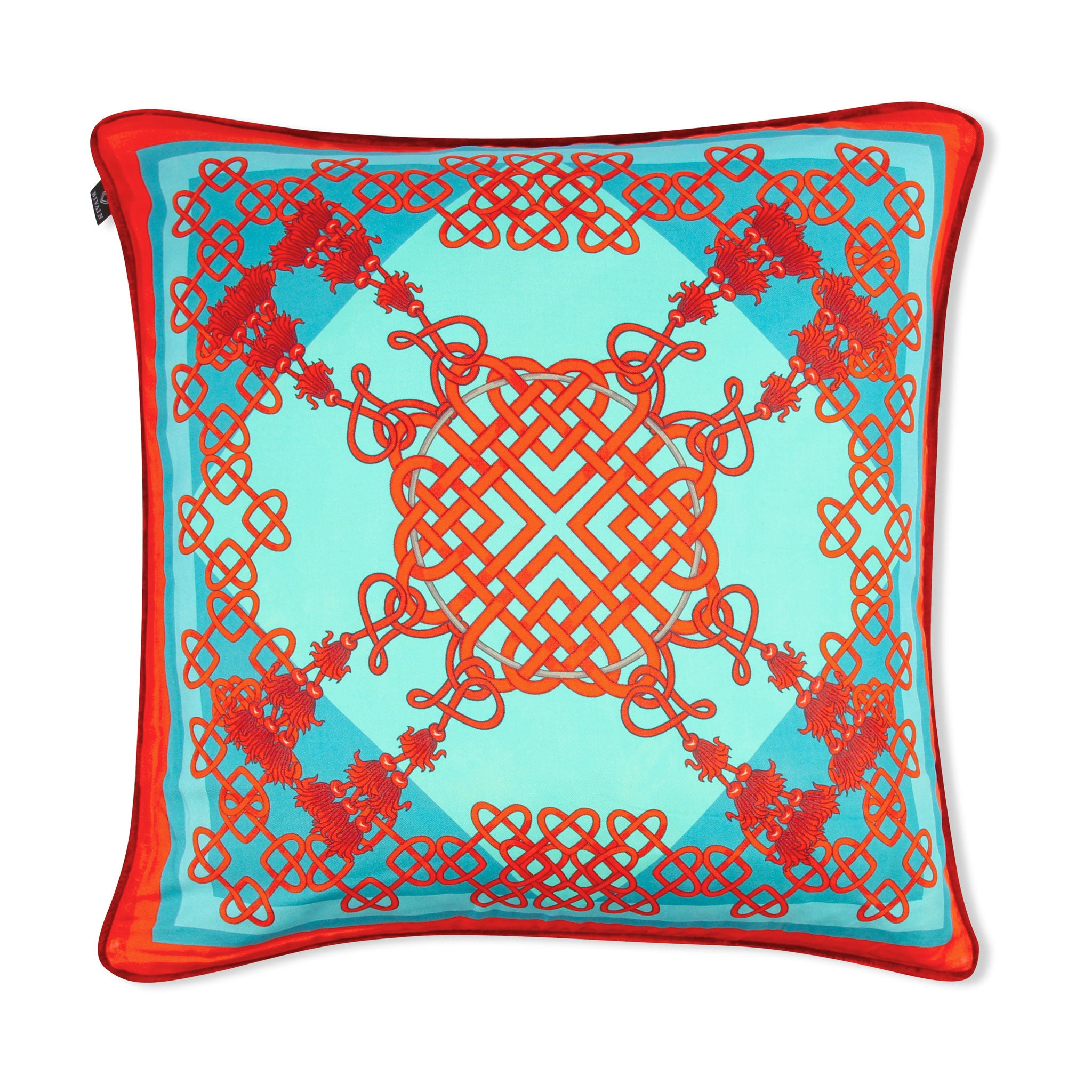 Silk twill and velvet Chinese knot print cushion - Bivain - 1