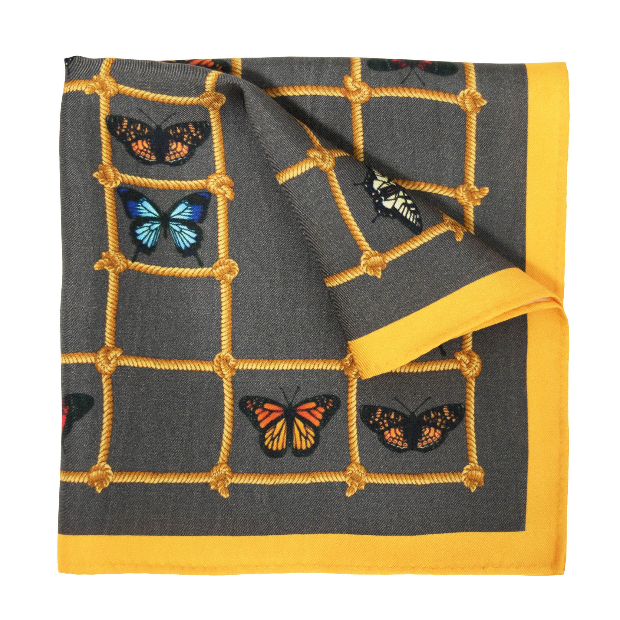 Butterflies & Ladders Silk Pocket Square, , Bivain