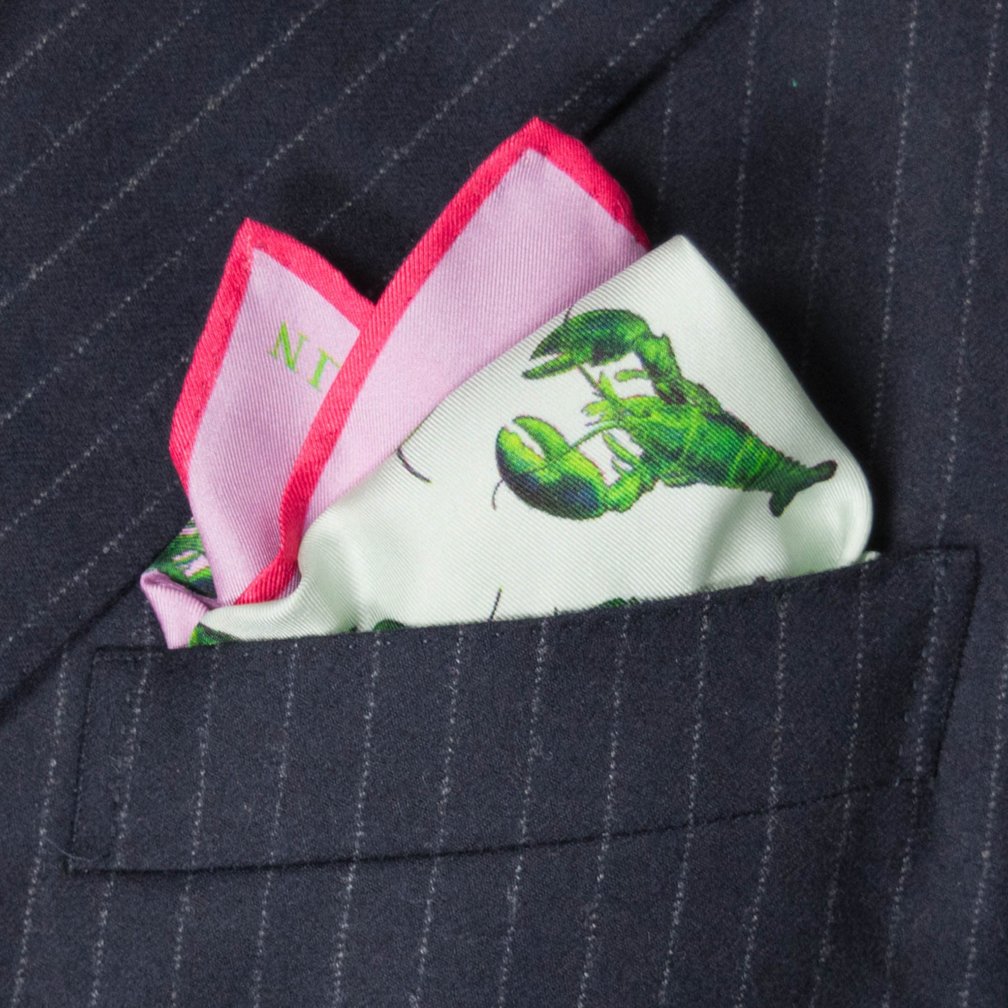 Lobster Silk Pocket Square, , Bivain