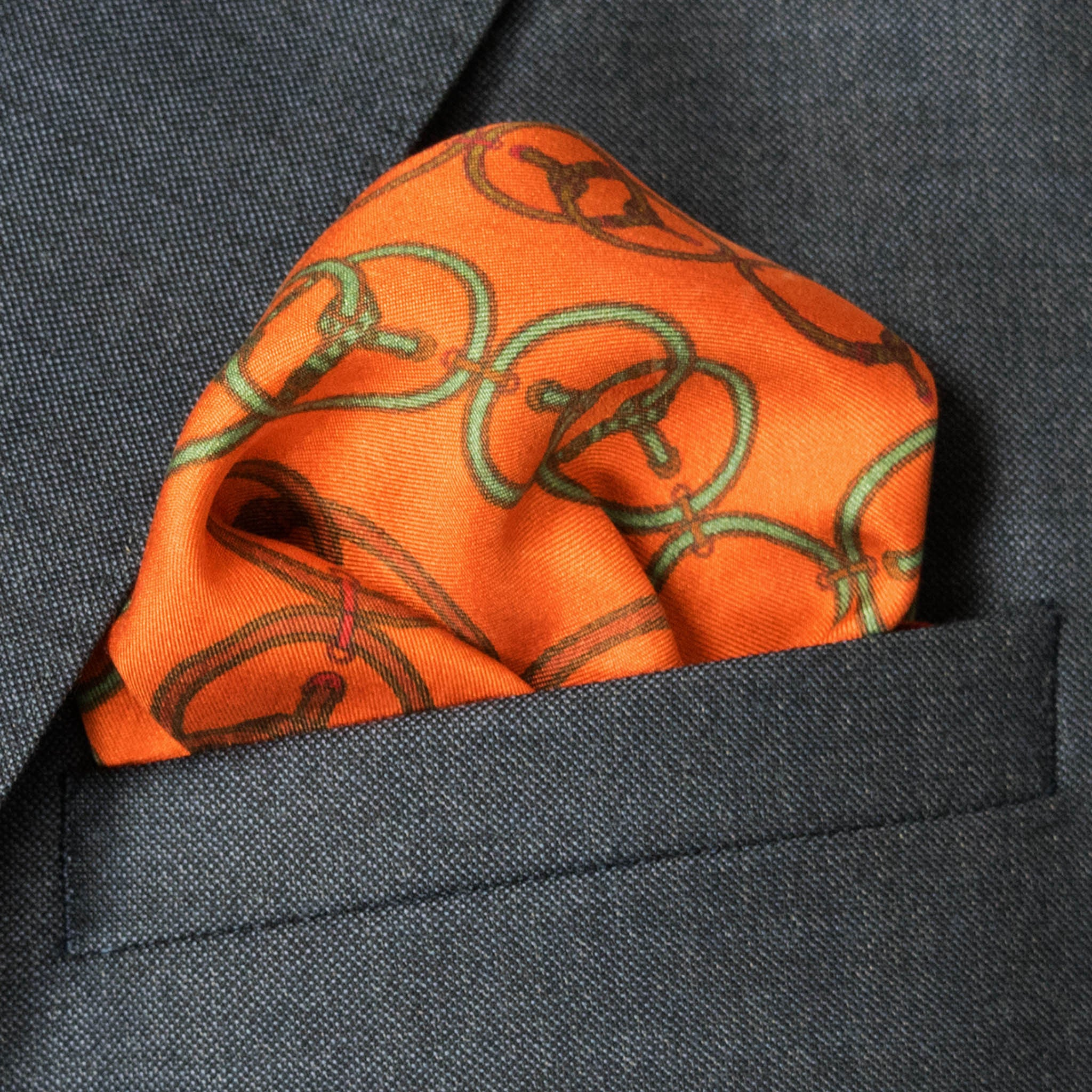 Loops Silk Pocket Square, , Bivain