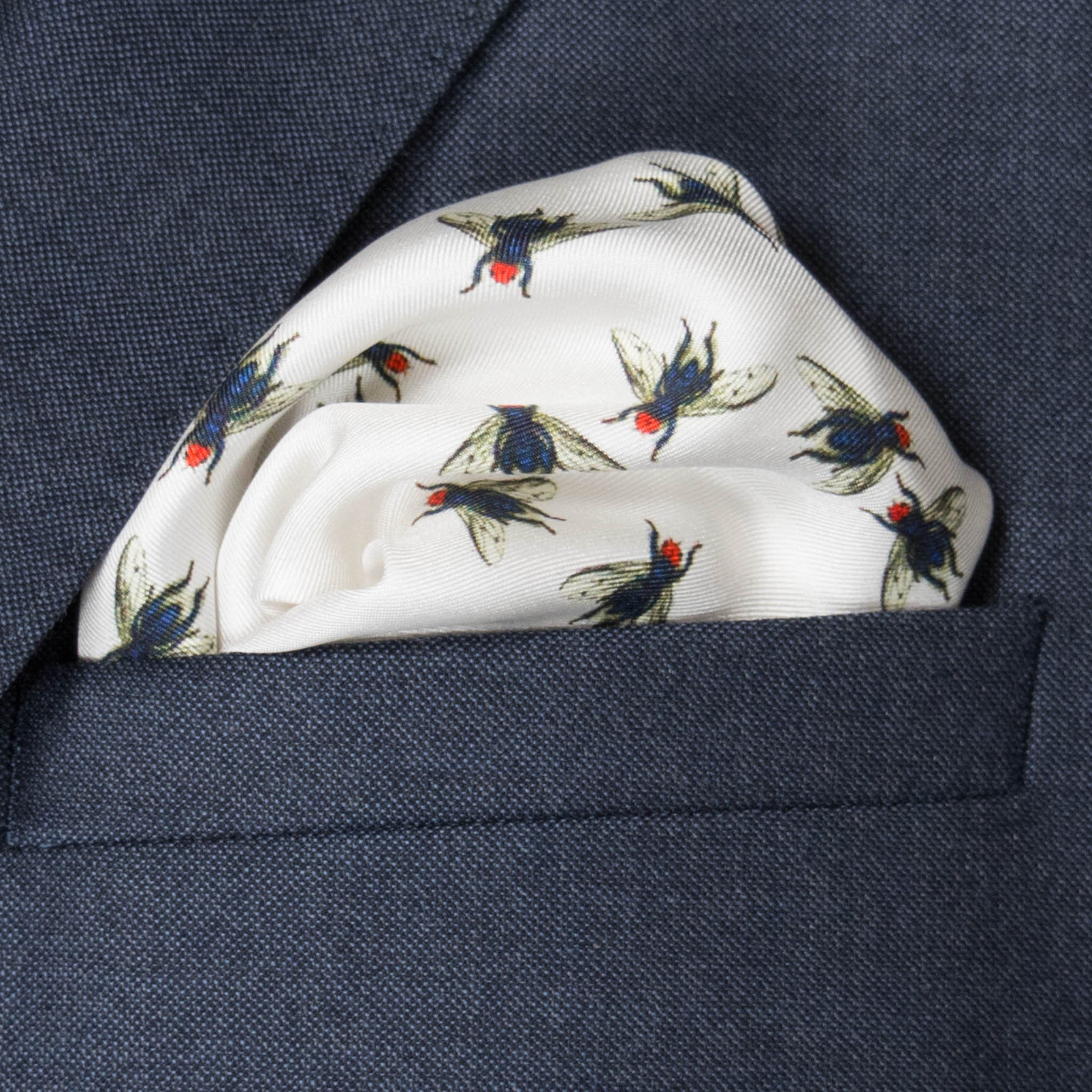 Fly Silk Pocket Square, , Bivain