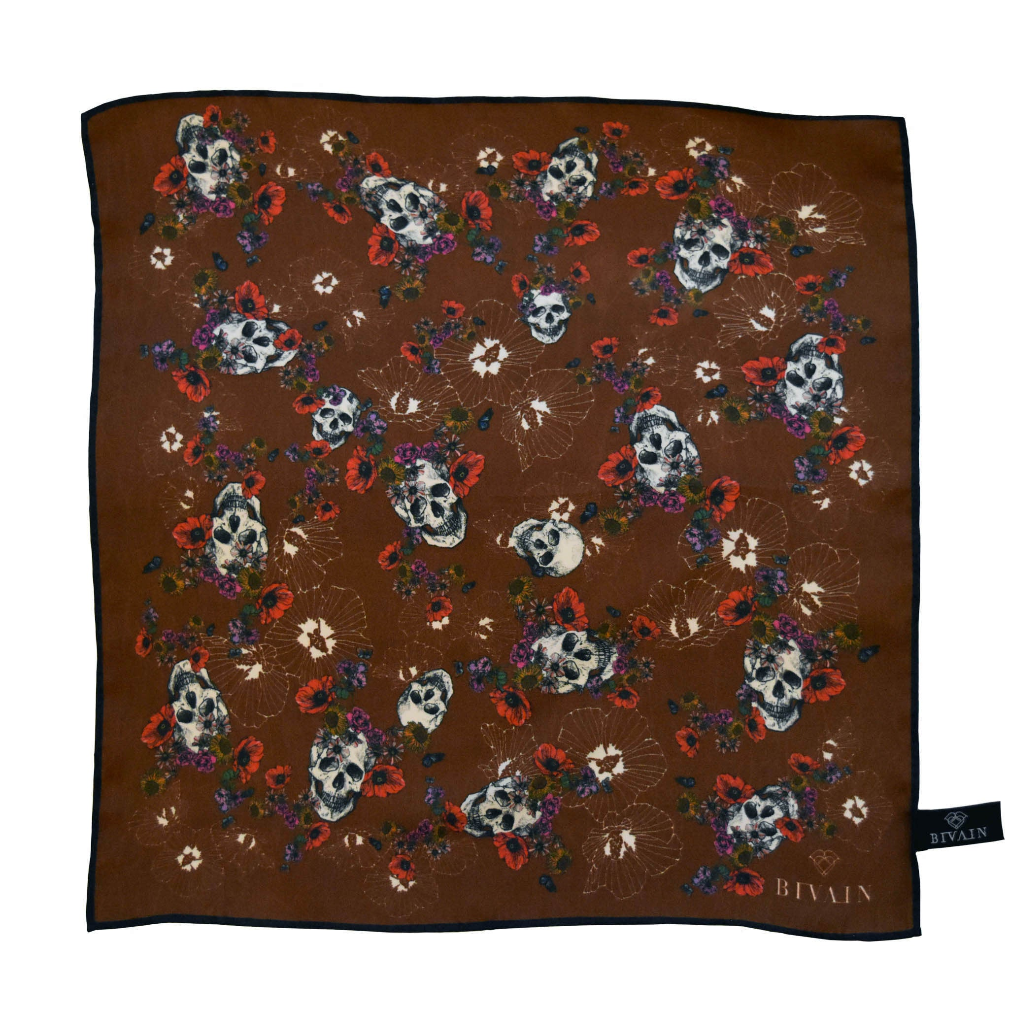 Calavera Silk Pocket Square, , Bivain
